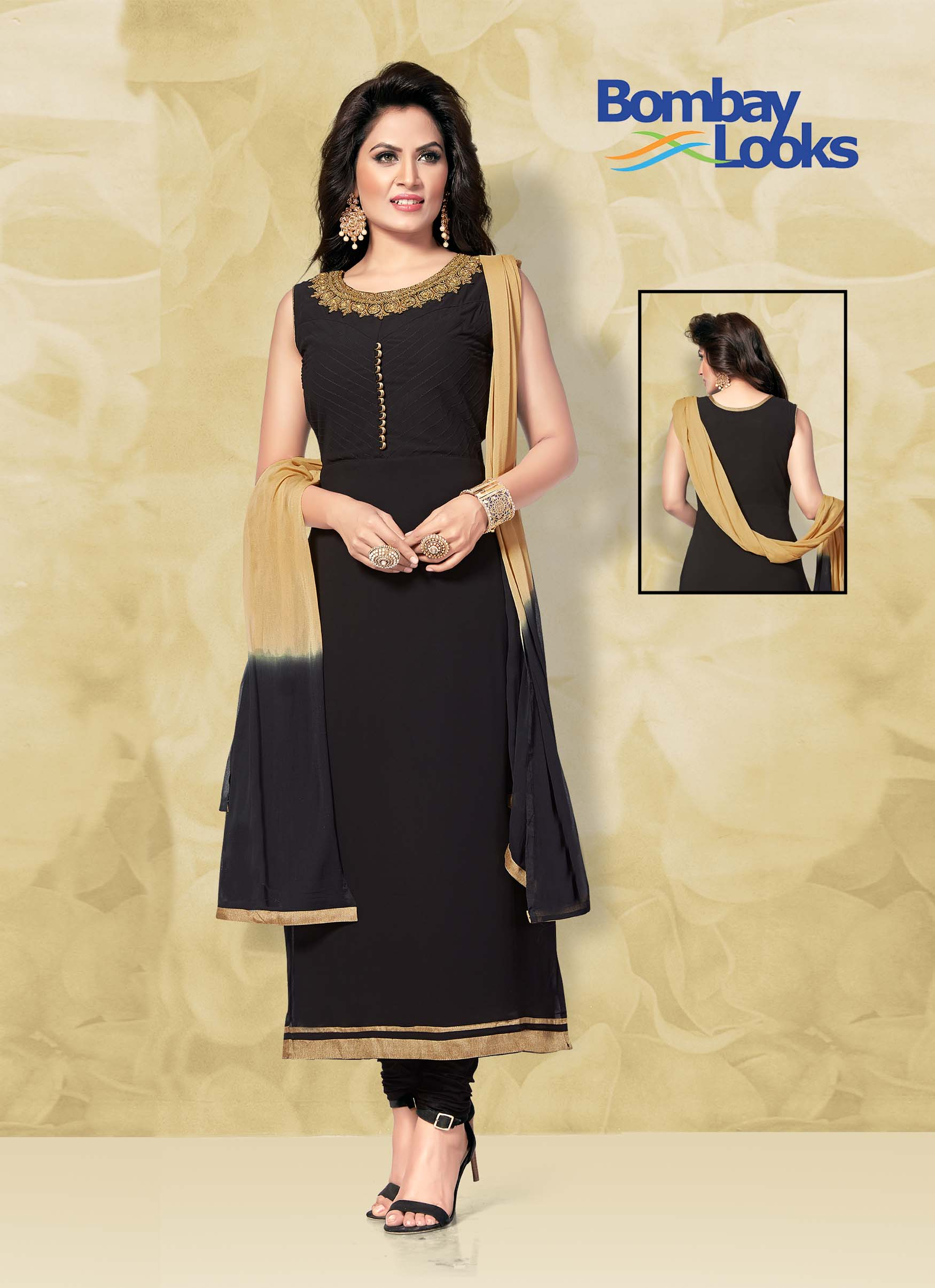 Black Georgette suit with churidar and shaded dupatta