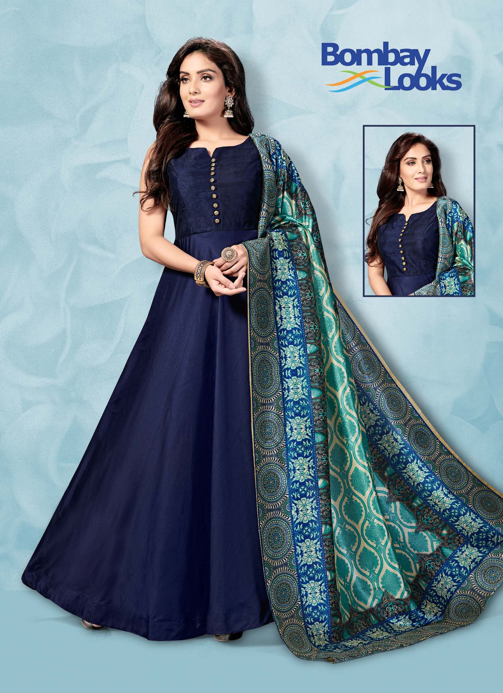 Navy blue barfi silk floor length suit with heavy dupatta