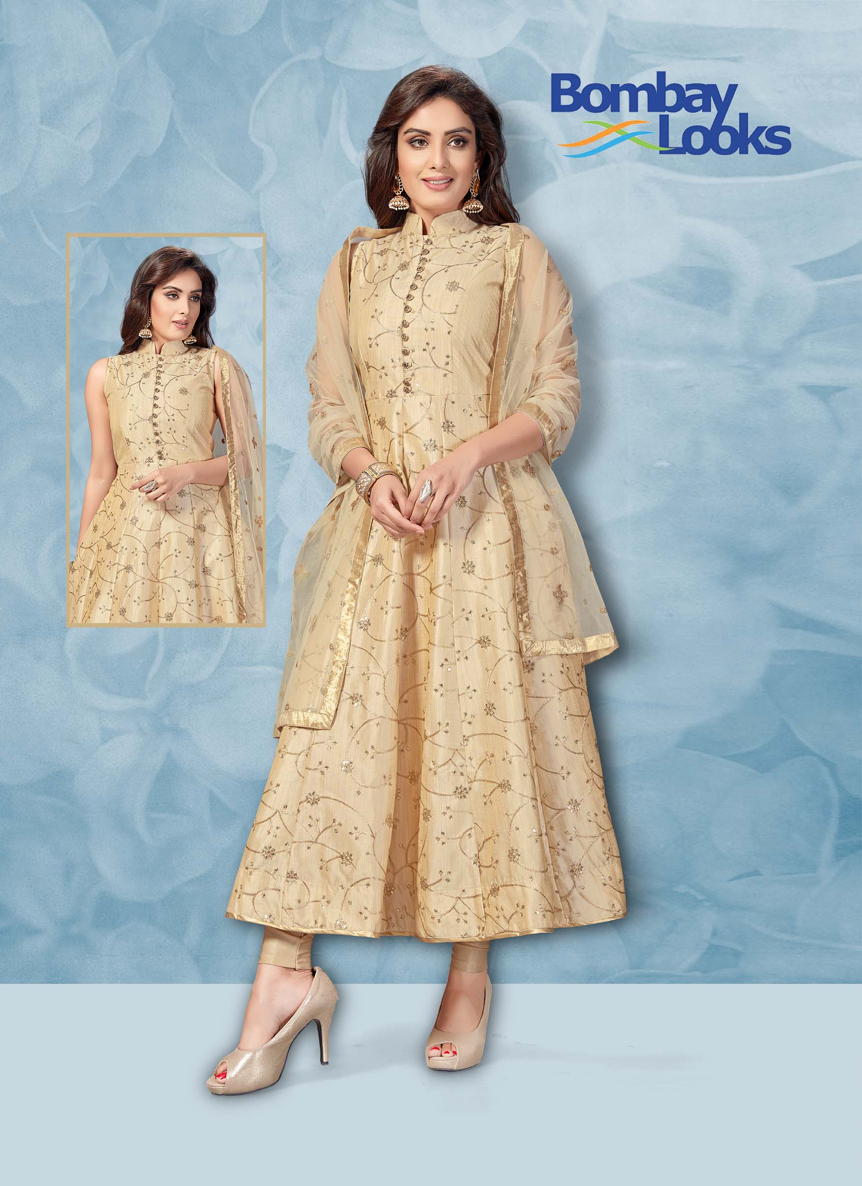 Cream colour suit in dupion silk with matching churidar and dupatta