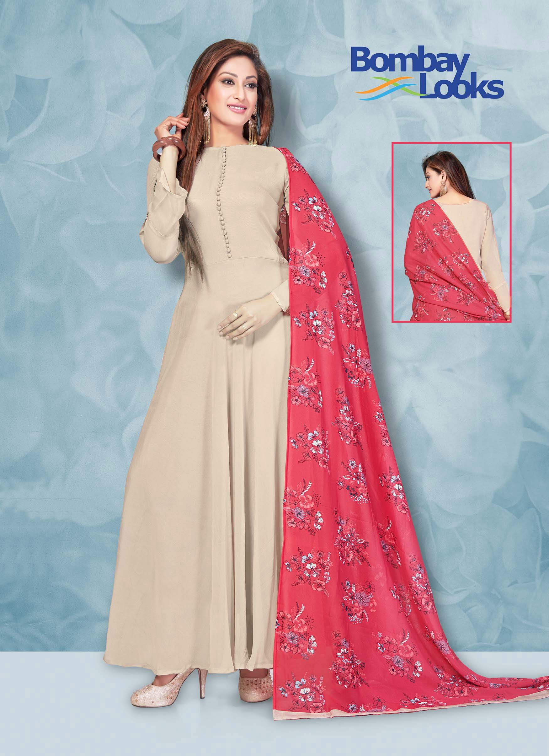 Light Beige Georgette floor length suit with contrast  dupatta