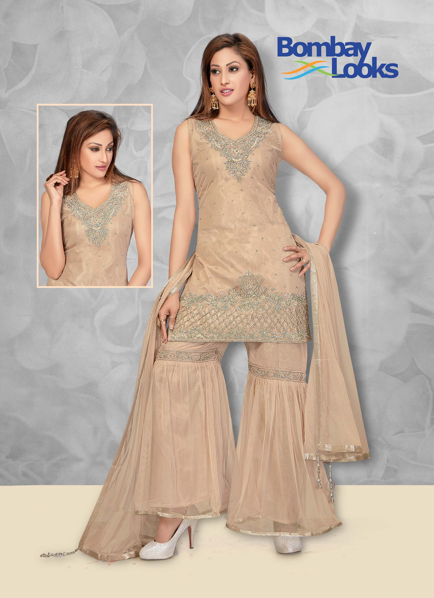 Soft net light beige suit with matching sharara and dupatta