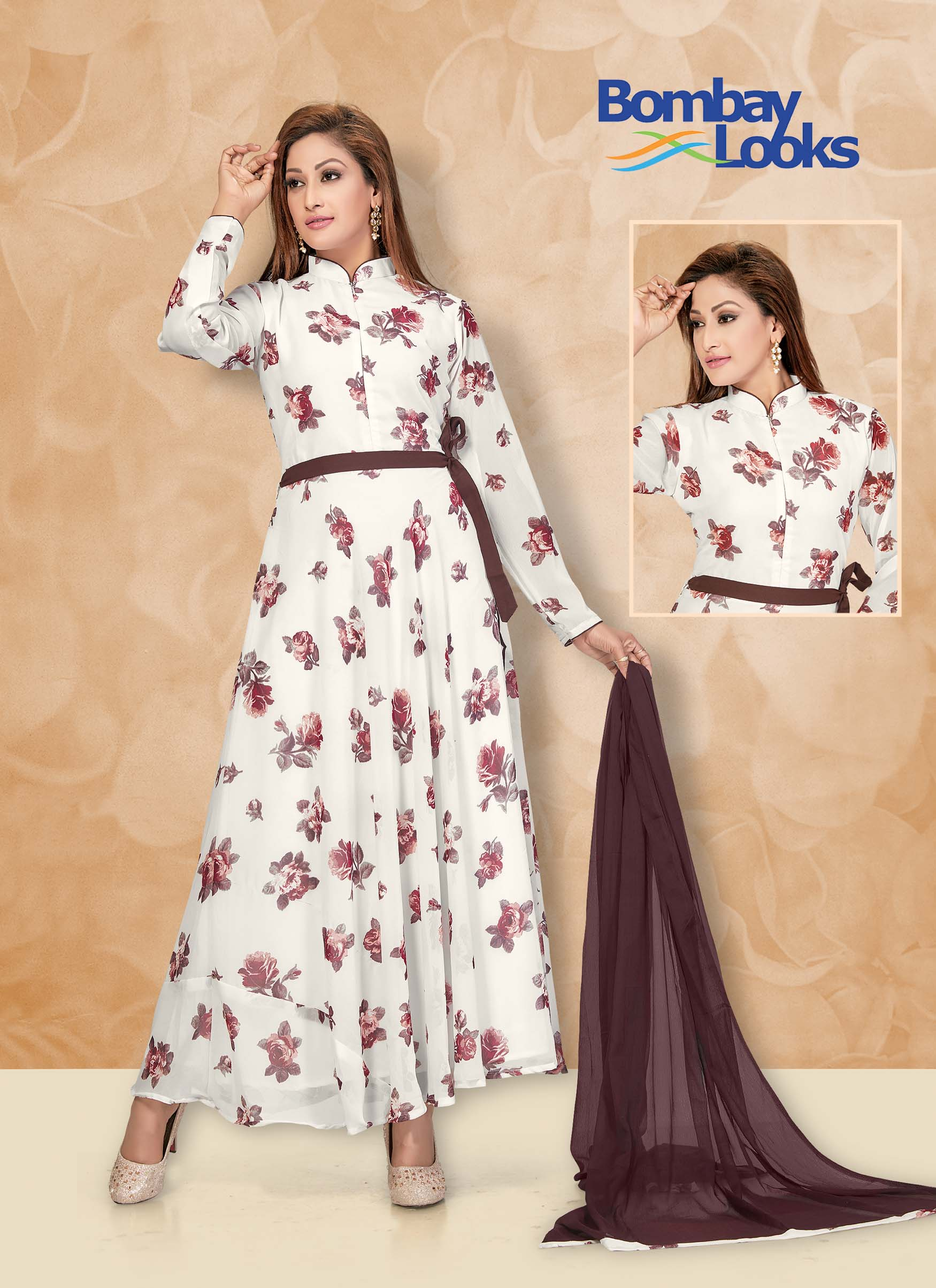 Off-white georgette suit in floral print with contrast dupatta