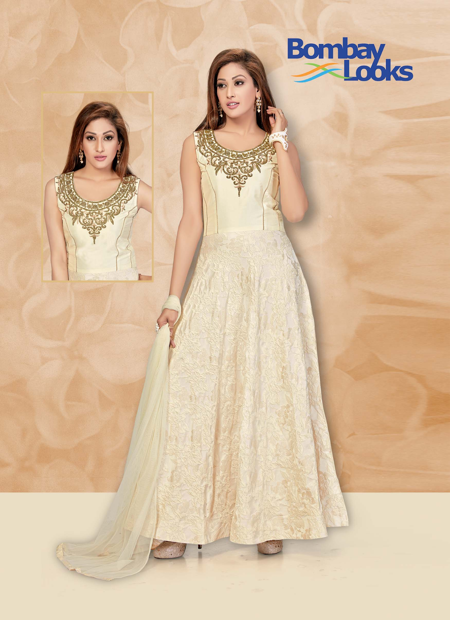 Cream Floor Length Suit with matching dupatta