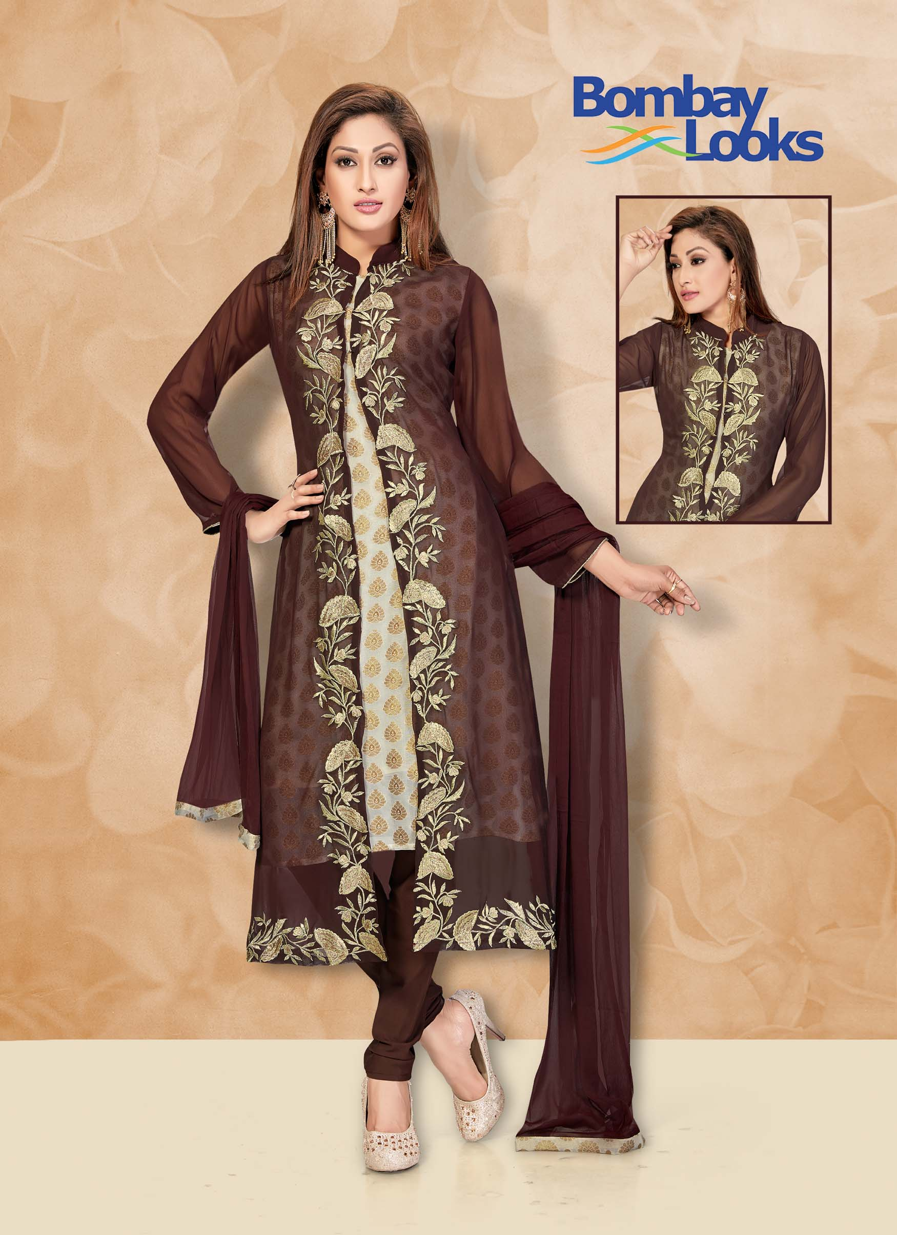 Jacket style Georgette short brown suit with matching churidar and dupatta