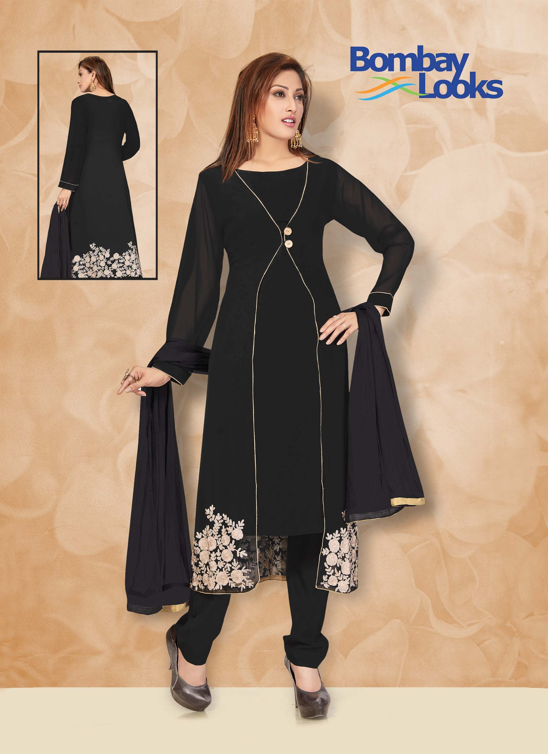 Georgette jacket style suit in black with matching churidar and dupatta