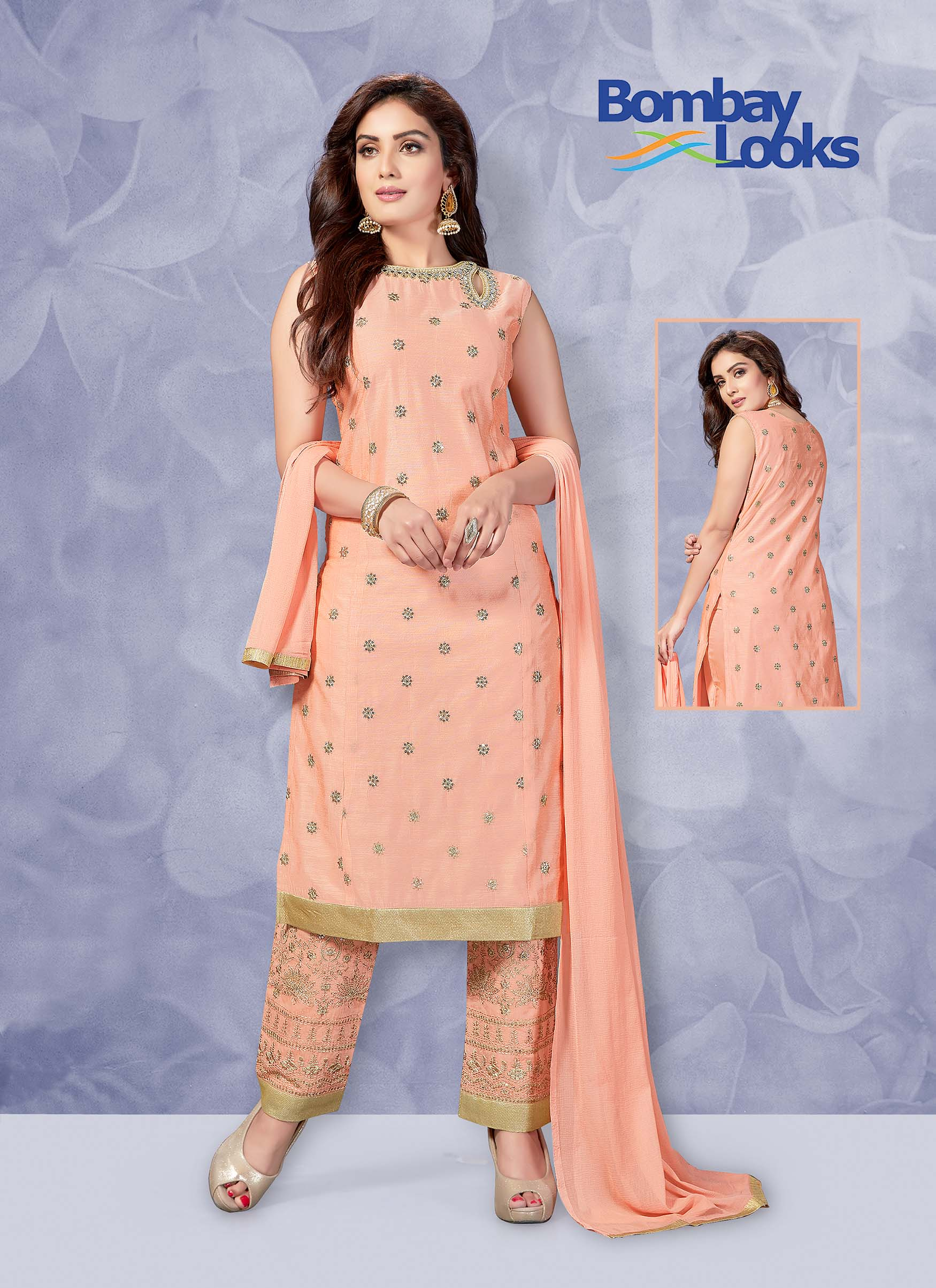Light peach chanderi suit with matching pants and dupatta