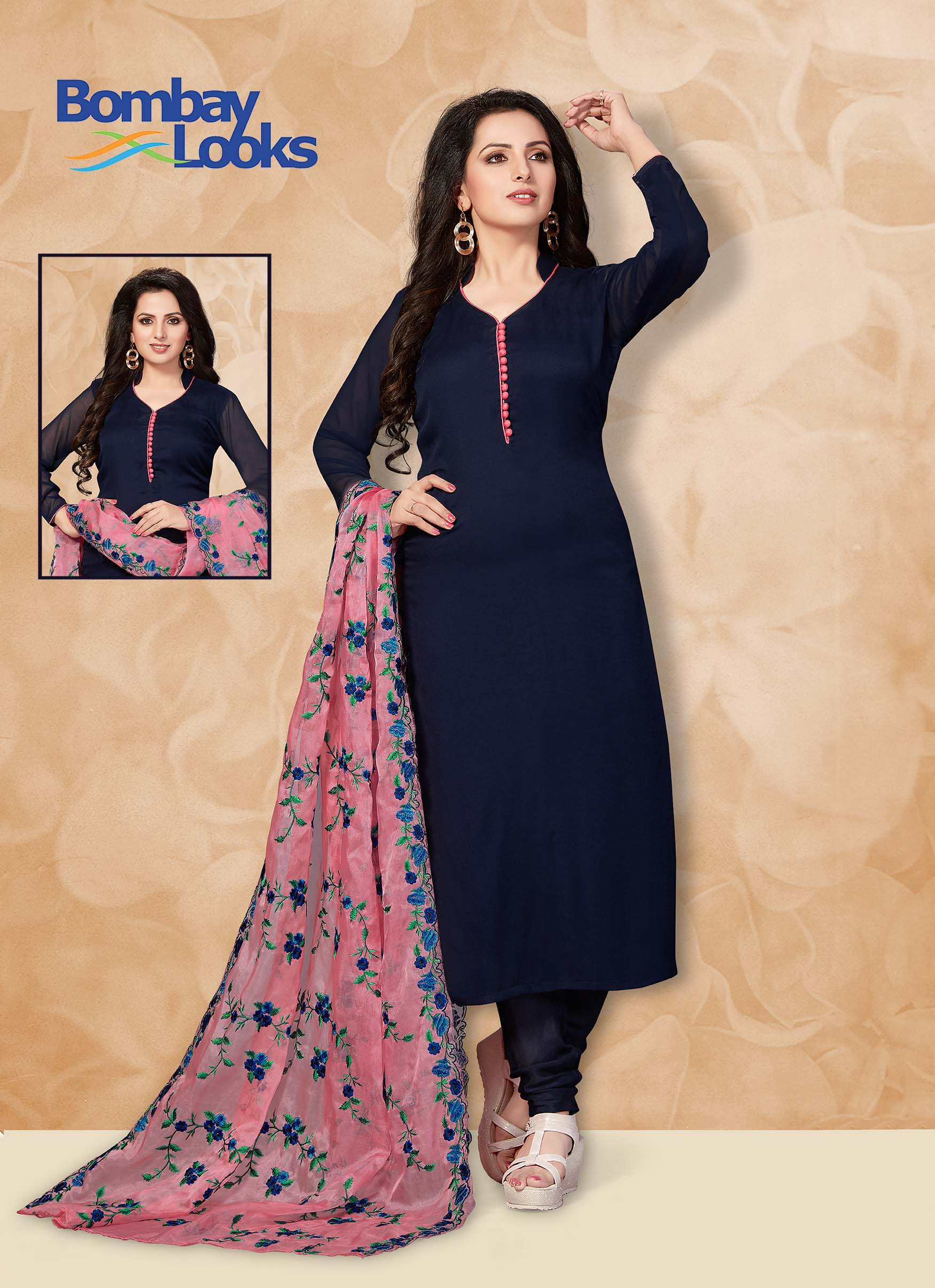 Blue Georgette suit with matching churidar and heavy embroidered dupatta