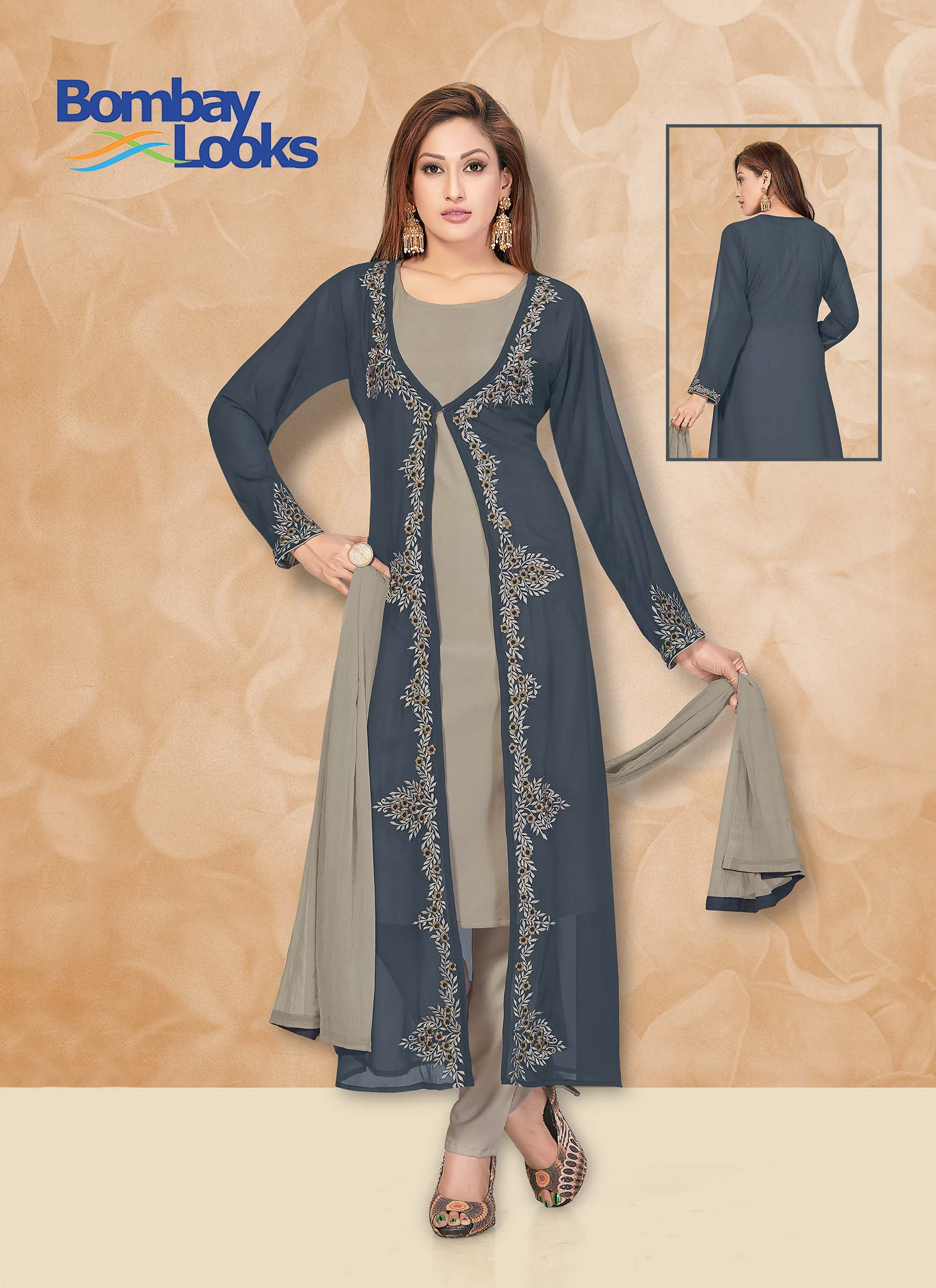 Dual tone grey suit with matching trouser and dupatta