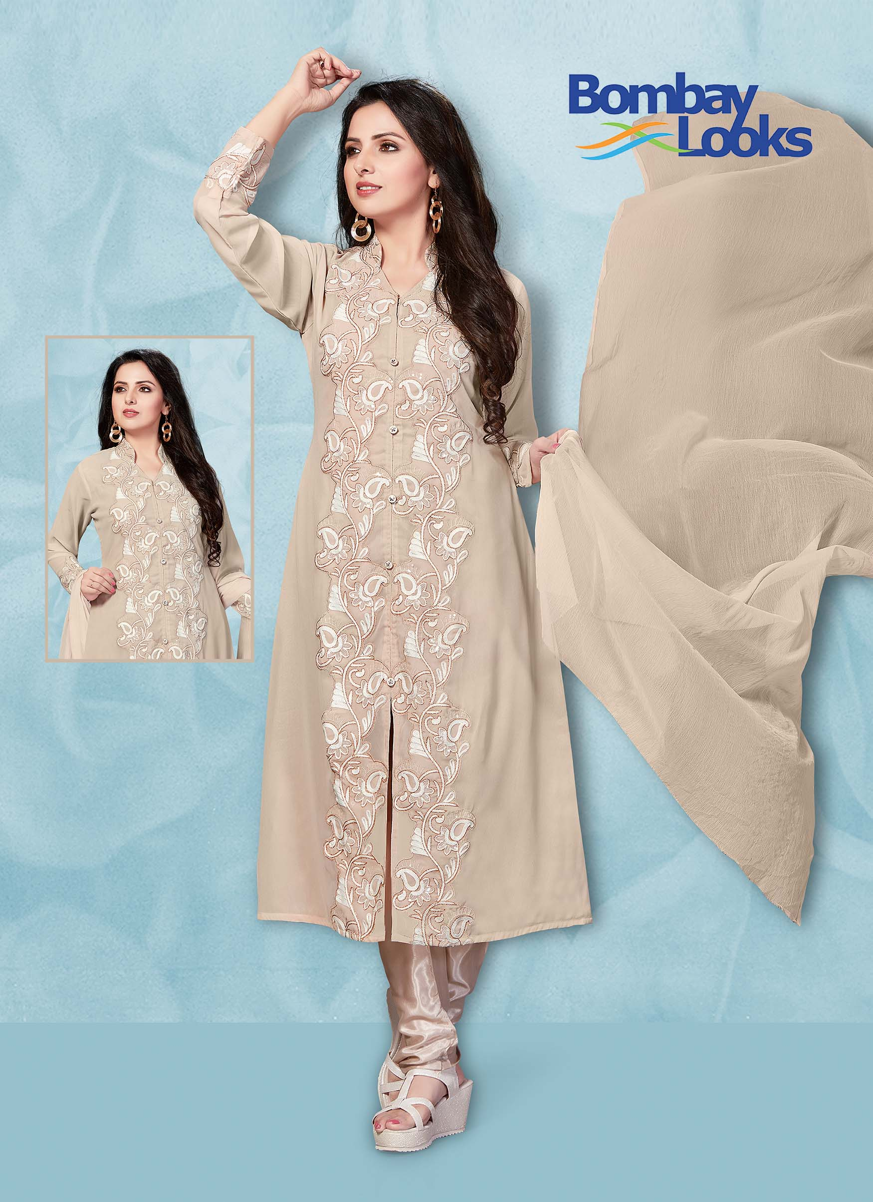 Beige Suit with threadwork embroidery