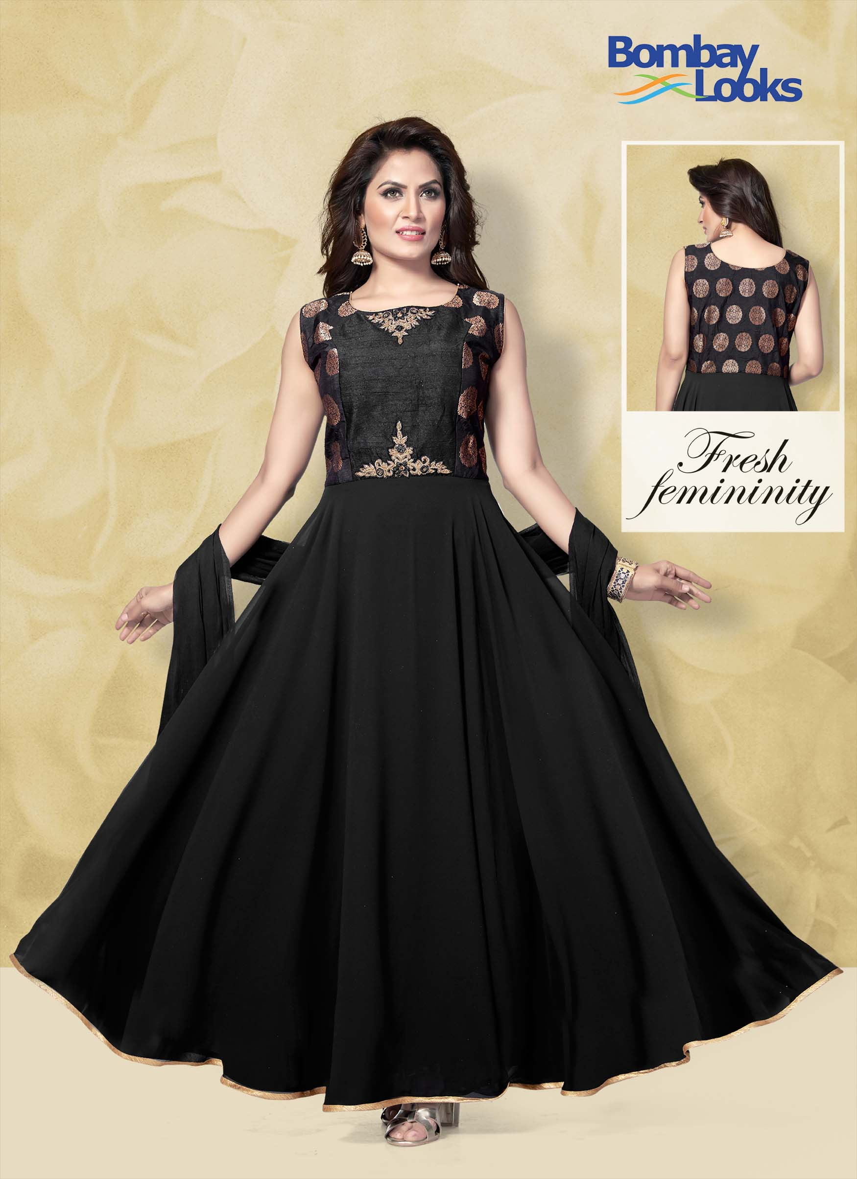 Black long length anarkali with delicate embroidery