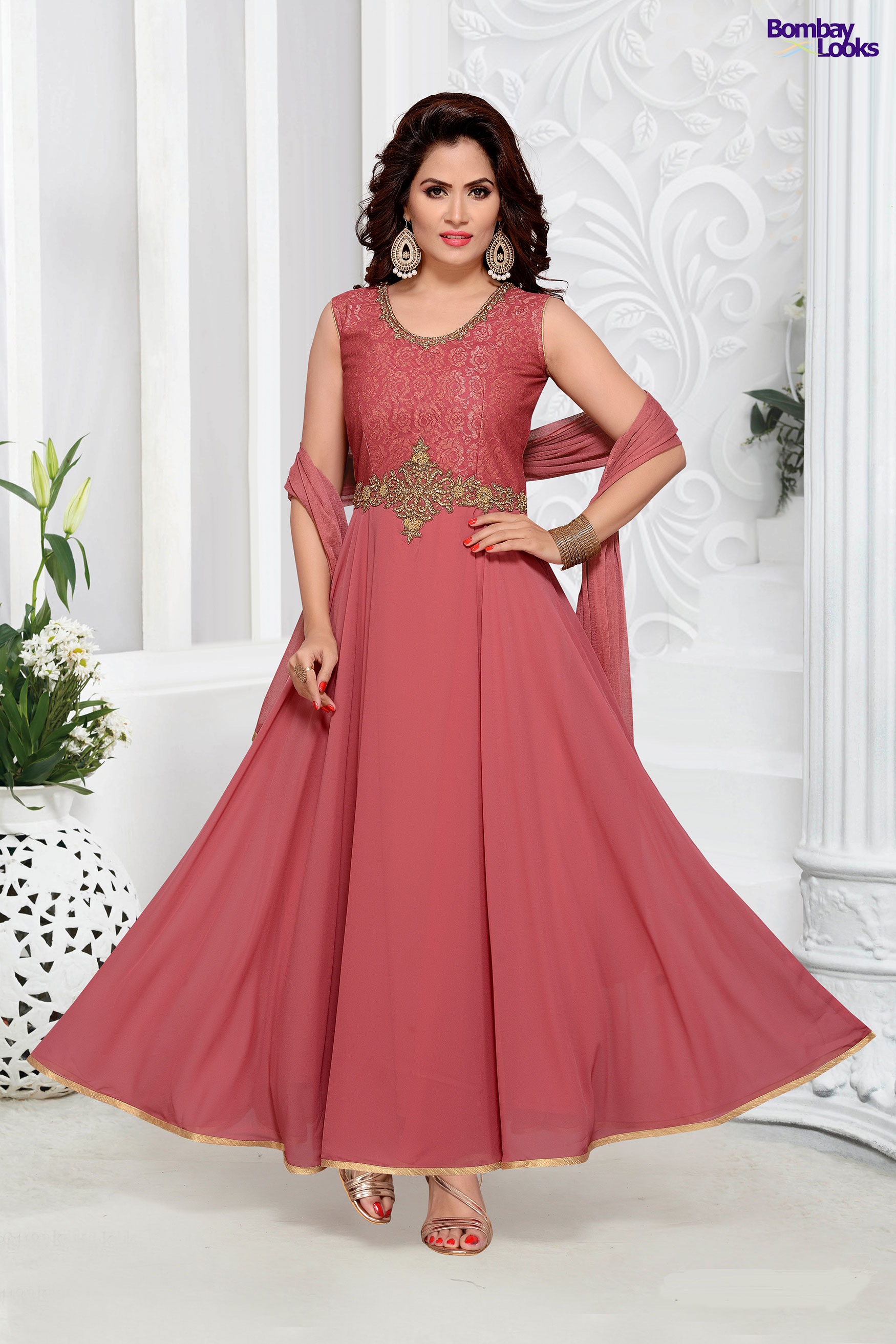 Dusty Pink long length anarkali with delicate embroidery
