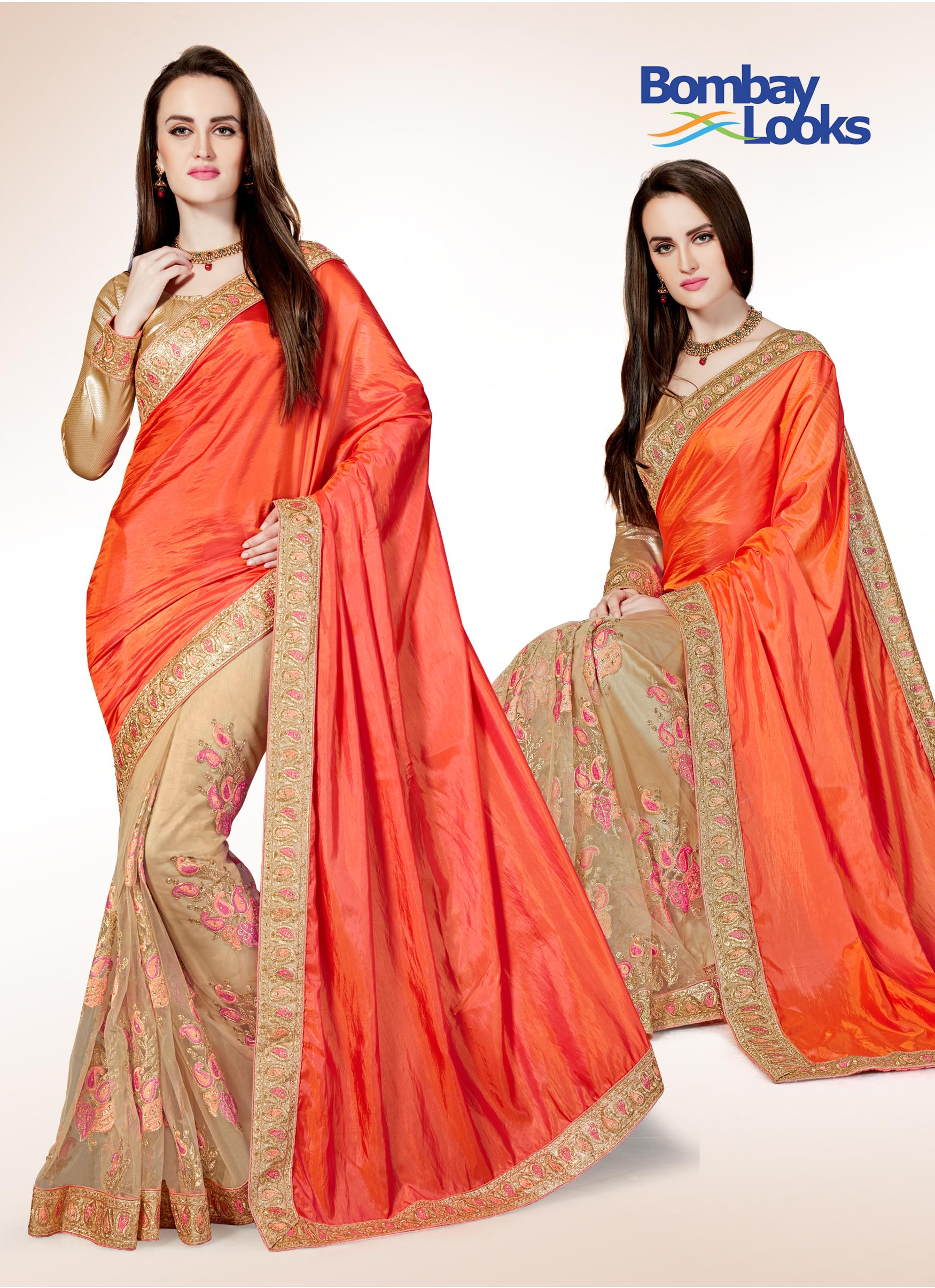 Dual tone half and half silk saree in Pinkish orange and soft net gold