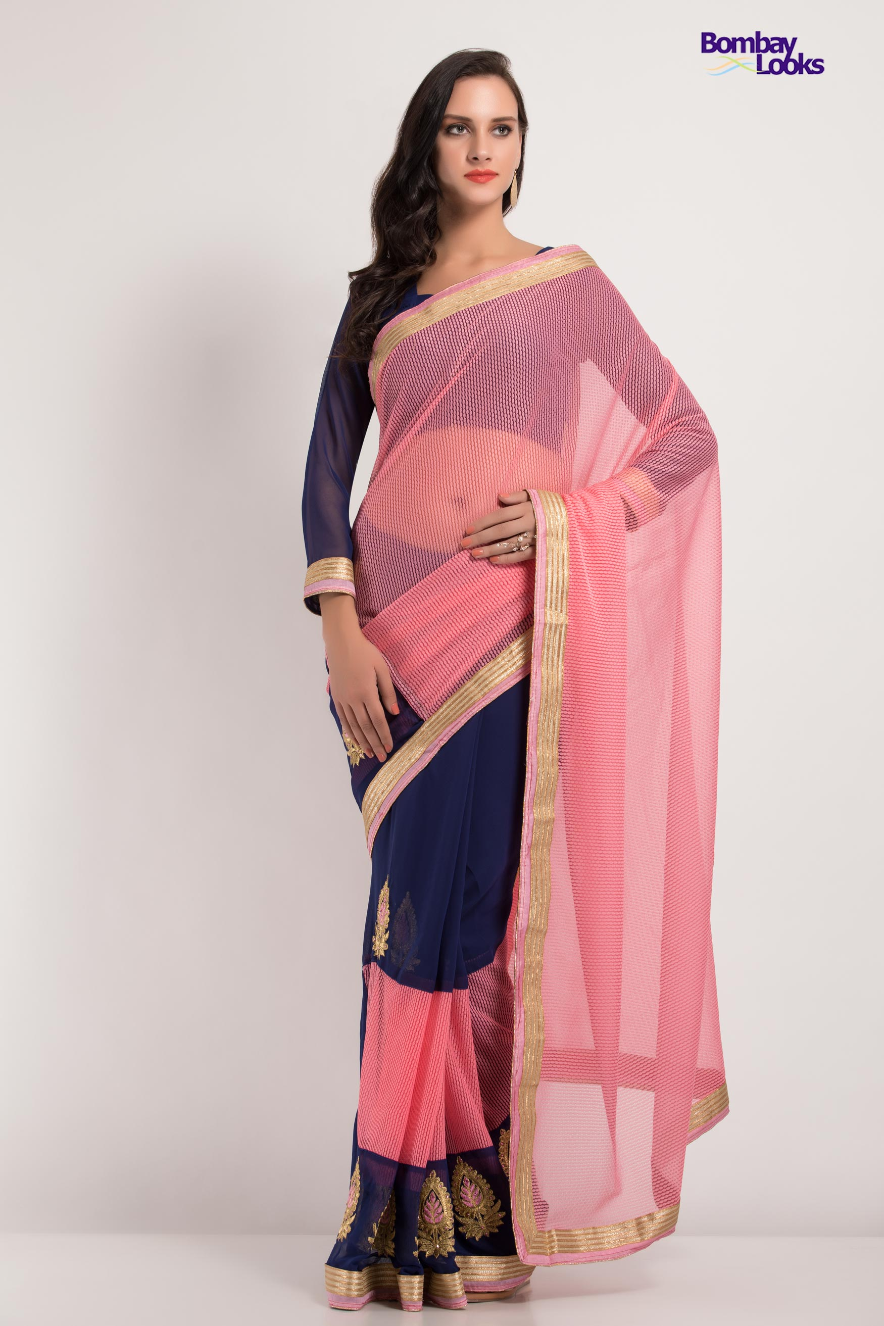 Soft dual tone saree in pink and blue with delicate golden embroidered blouse