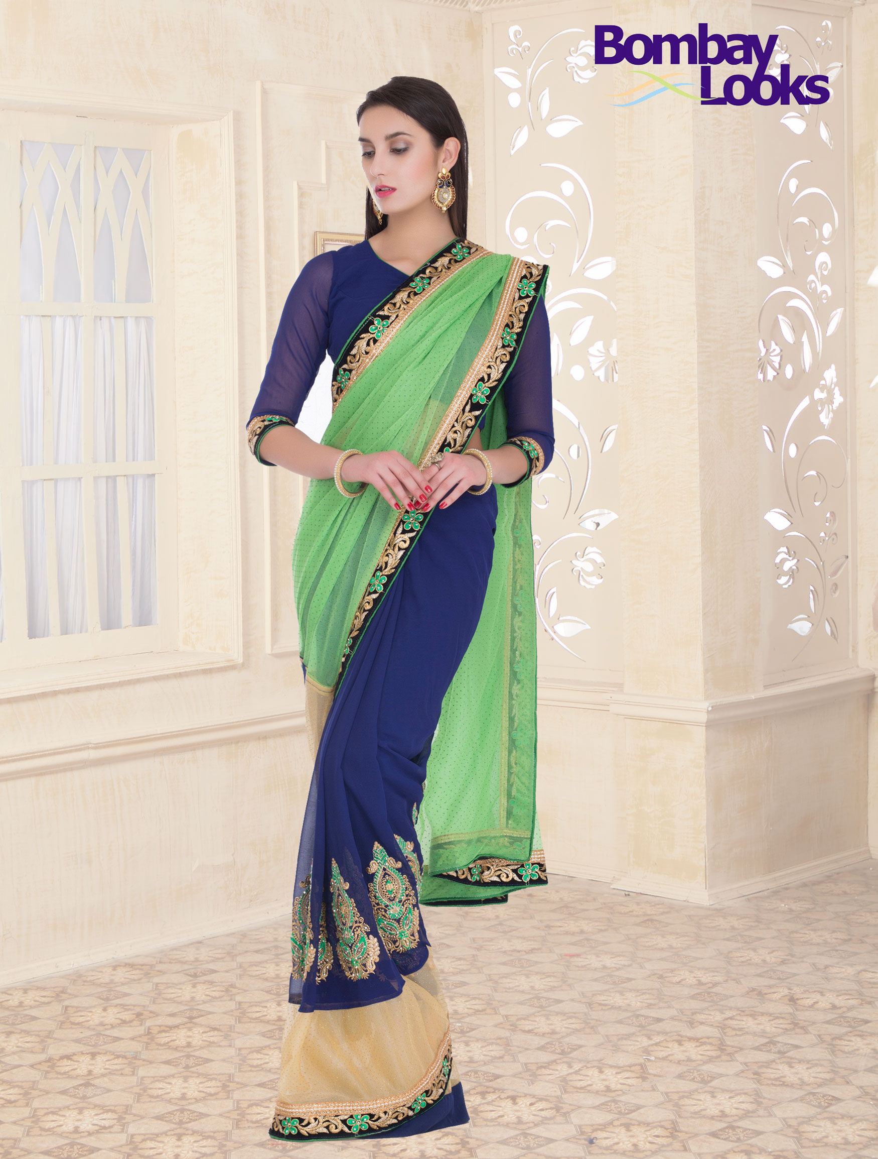 Elegant half and half pista green and royal blue saree with silk thread embroidery
