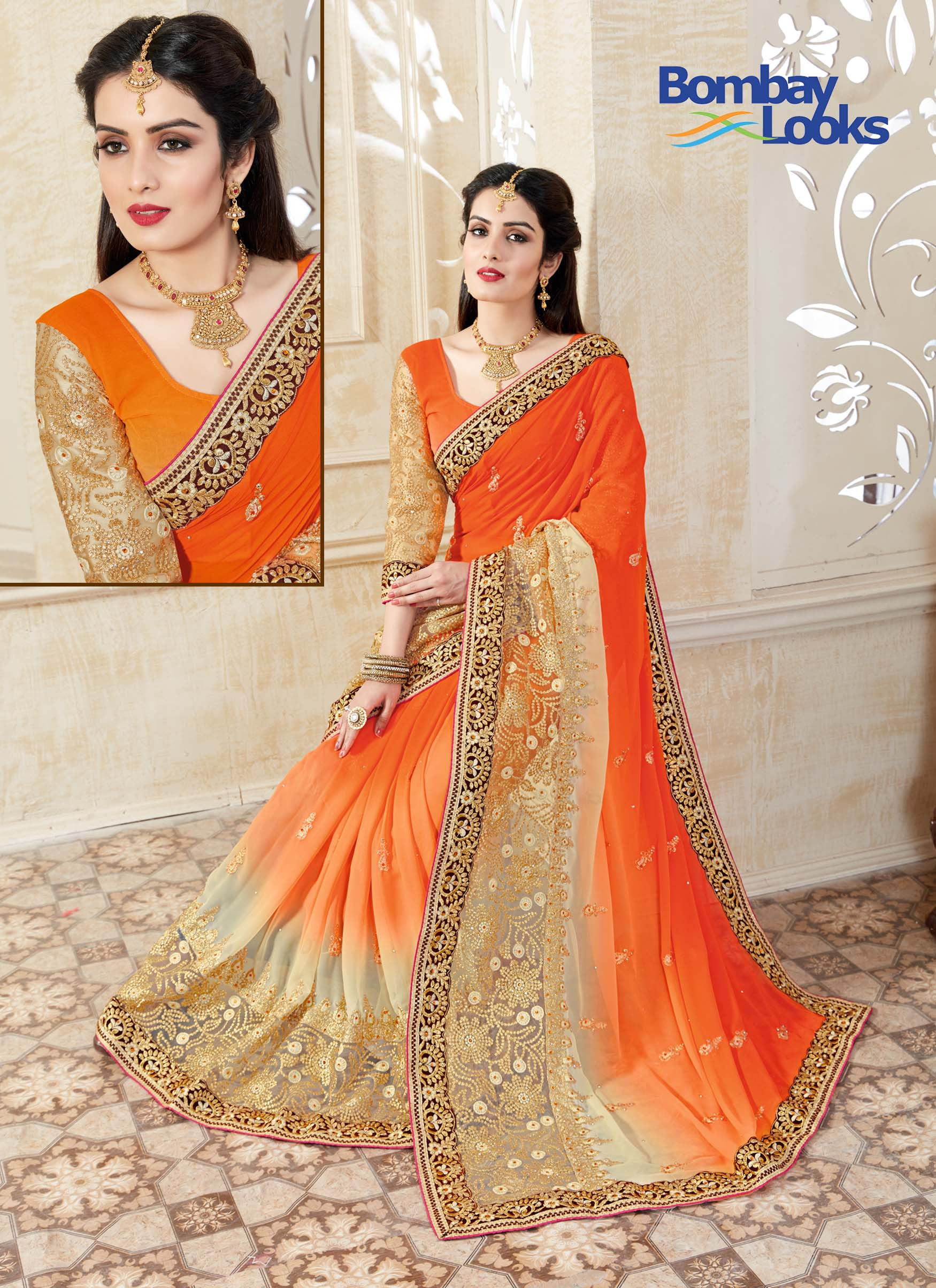 Elegant caramel and orange coloured ombre saree with golden embroidery and black border