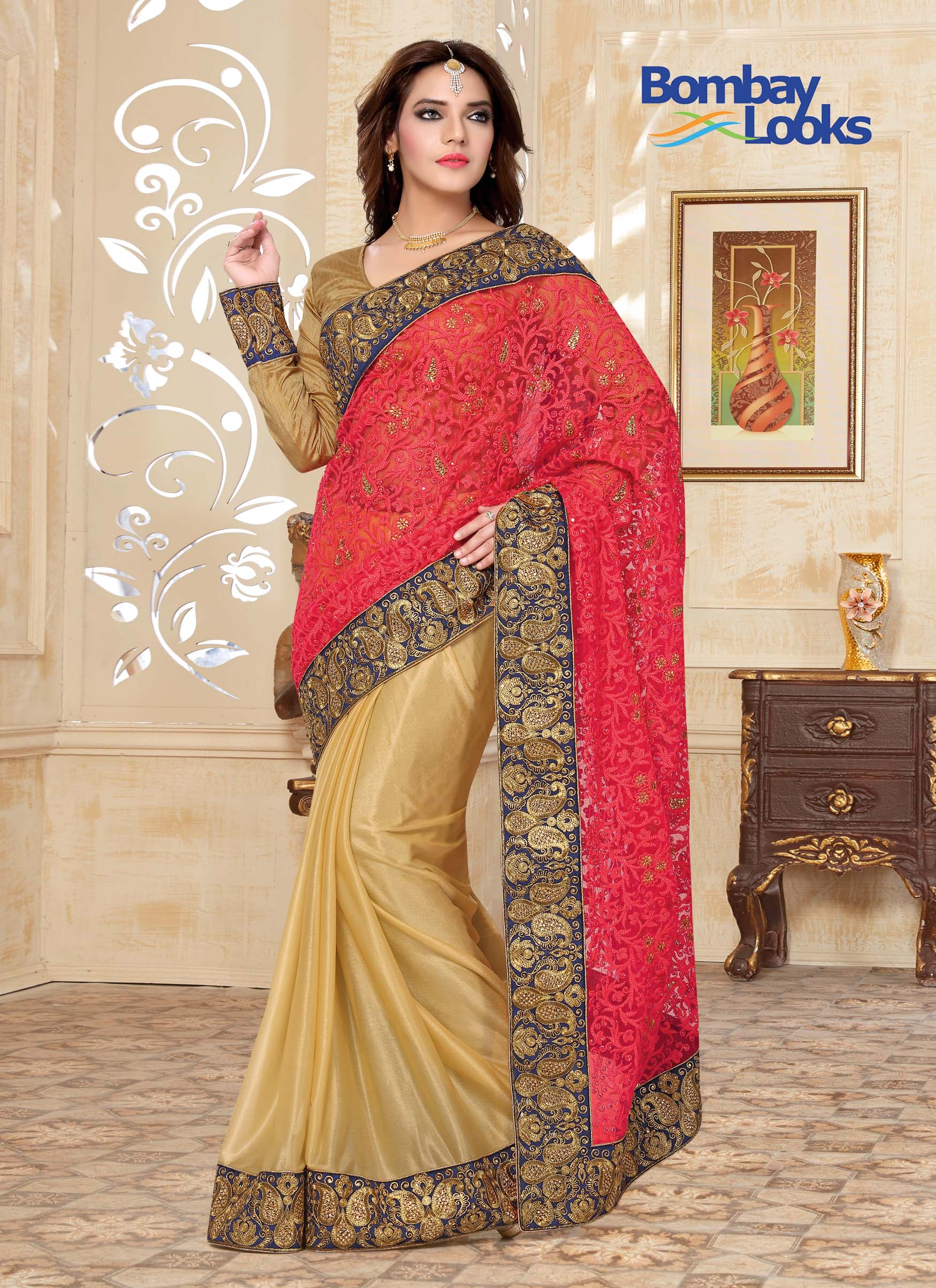 Elegant pink and gold half anf half saree with embroidered body and border work