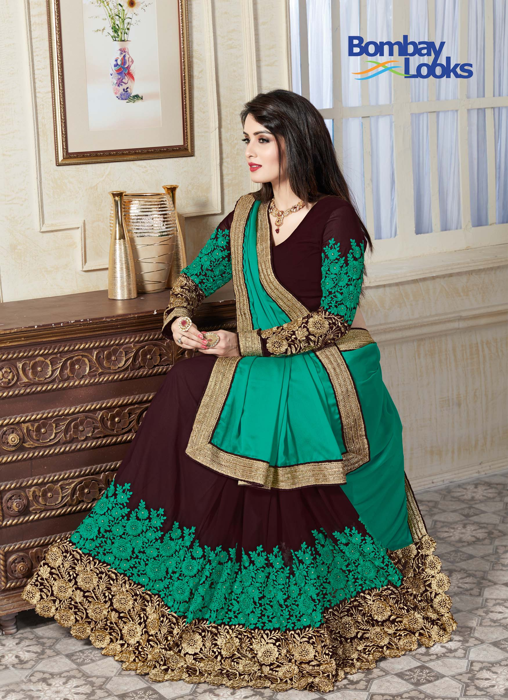 Stunning  embroidered half anf half saree in golden, green and brown and embroidered sleeves