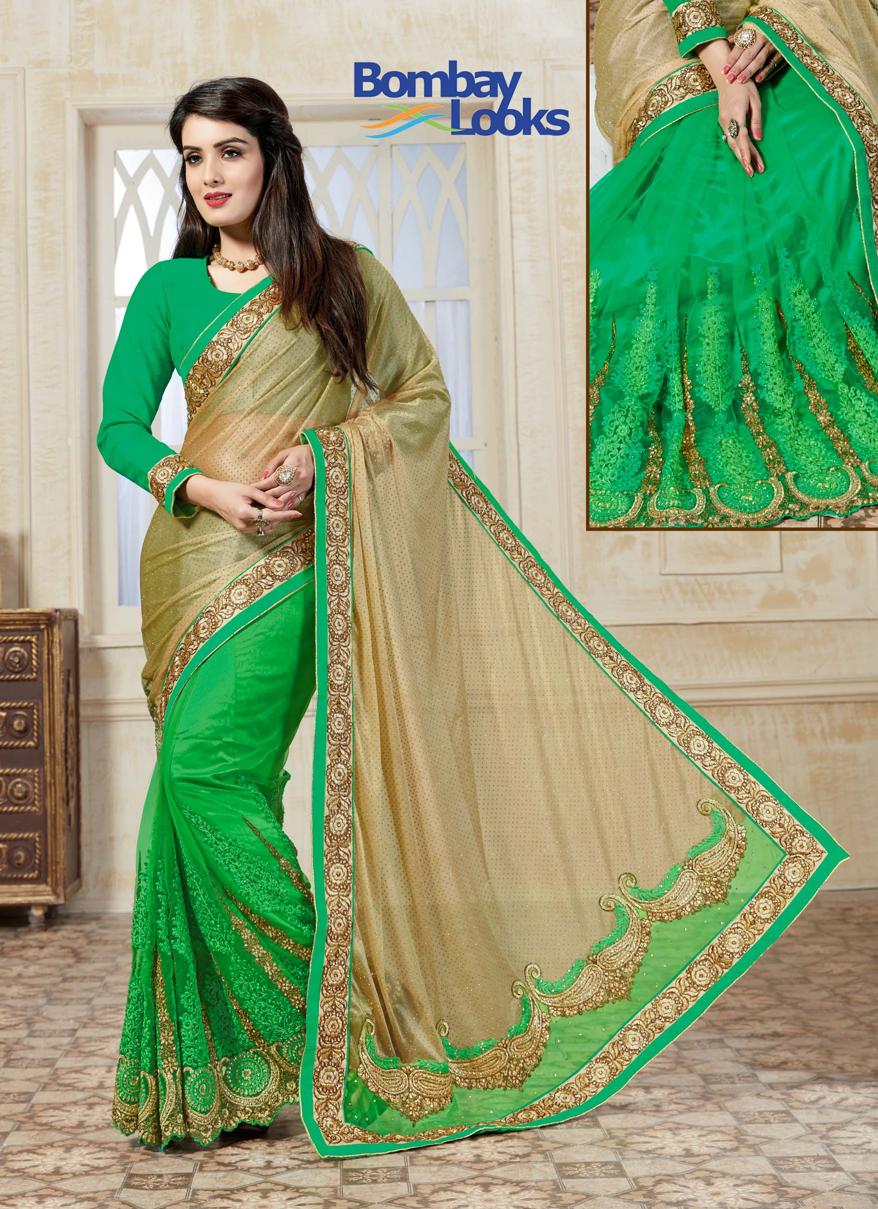 Shimmering gold and lime green net saree with full sleeved blouse and golden stone embroidery