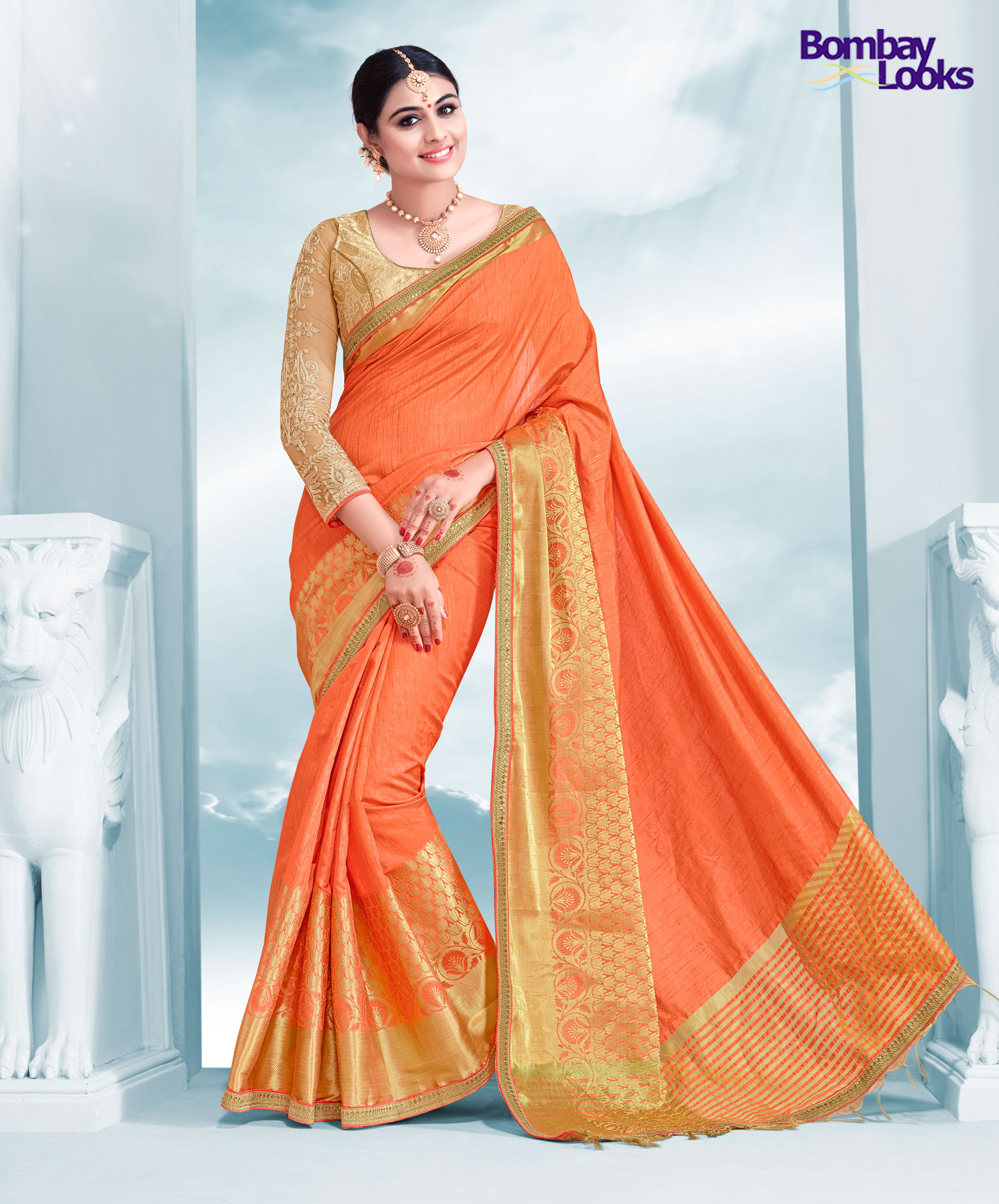 Orange Silk Saree With Brocade Blouse