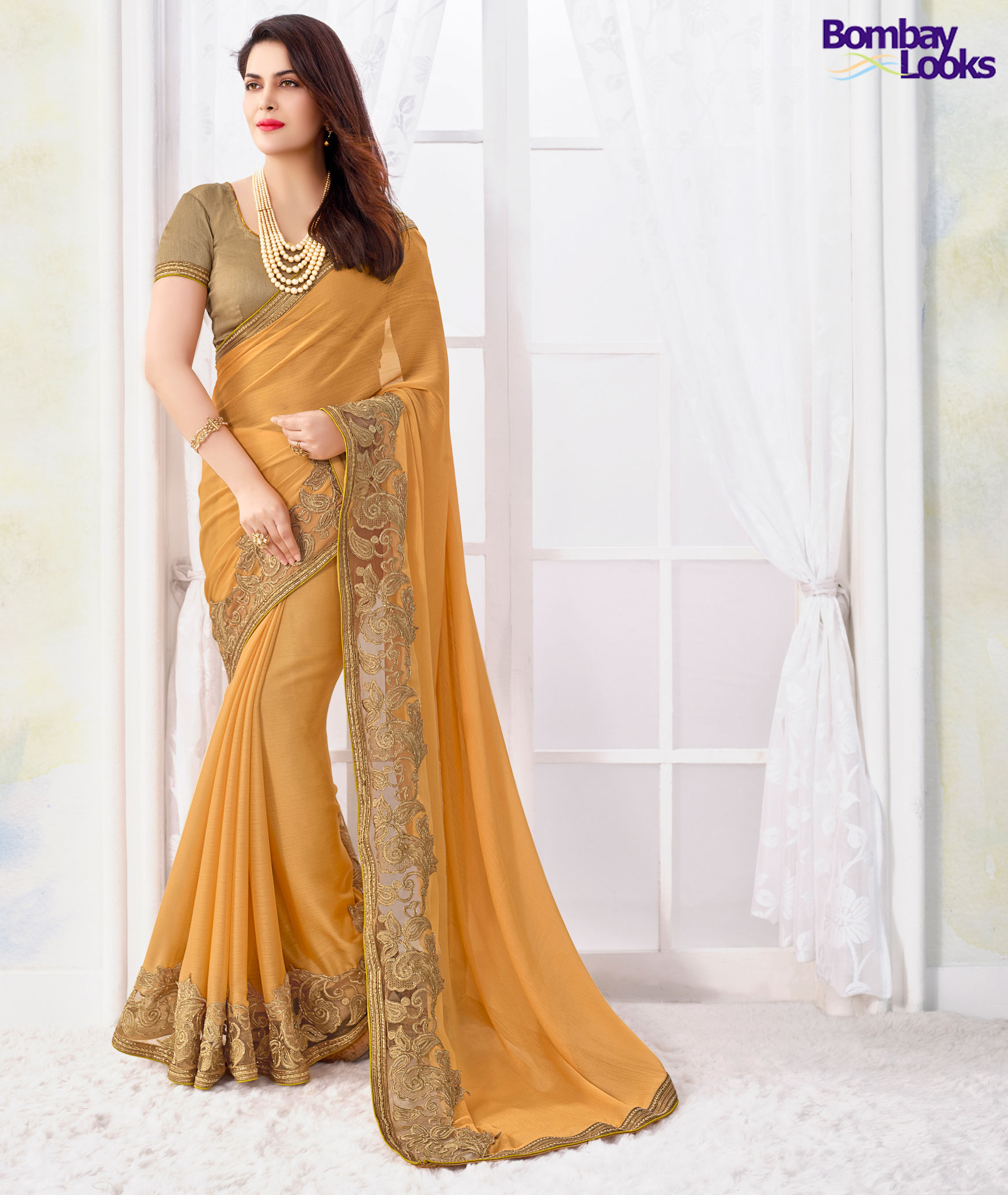 Peach Saree With Contrast Net Embroidered Border