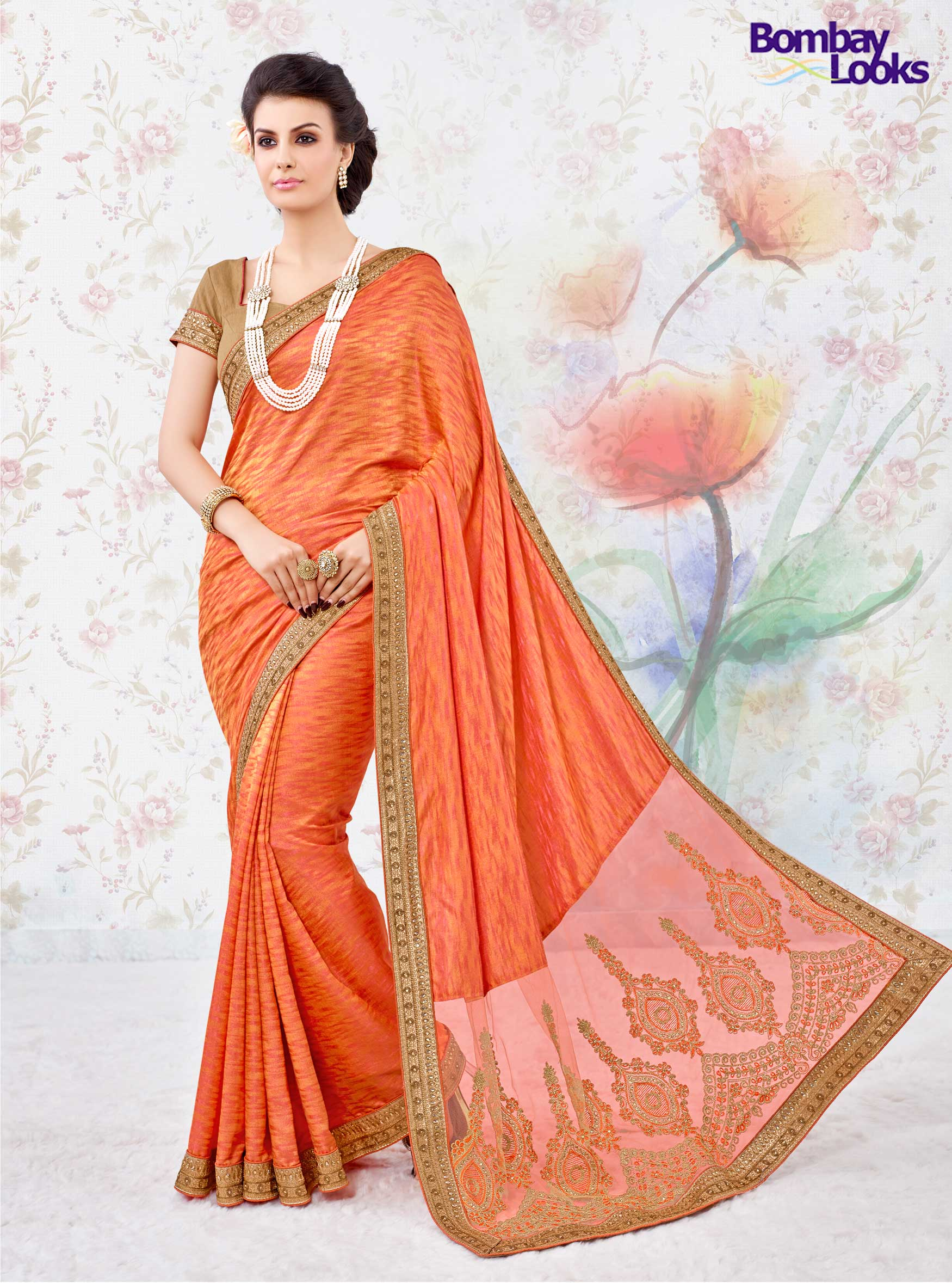 Orange Two Tone Silk With Net Pallu