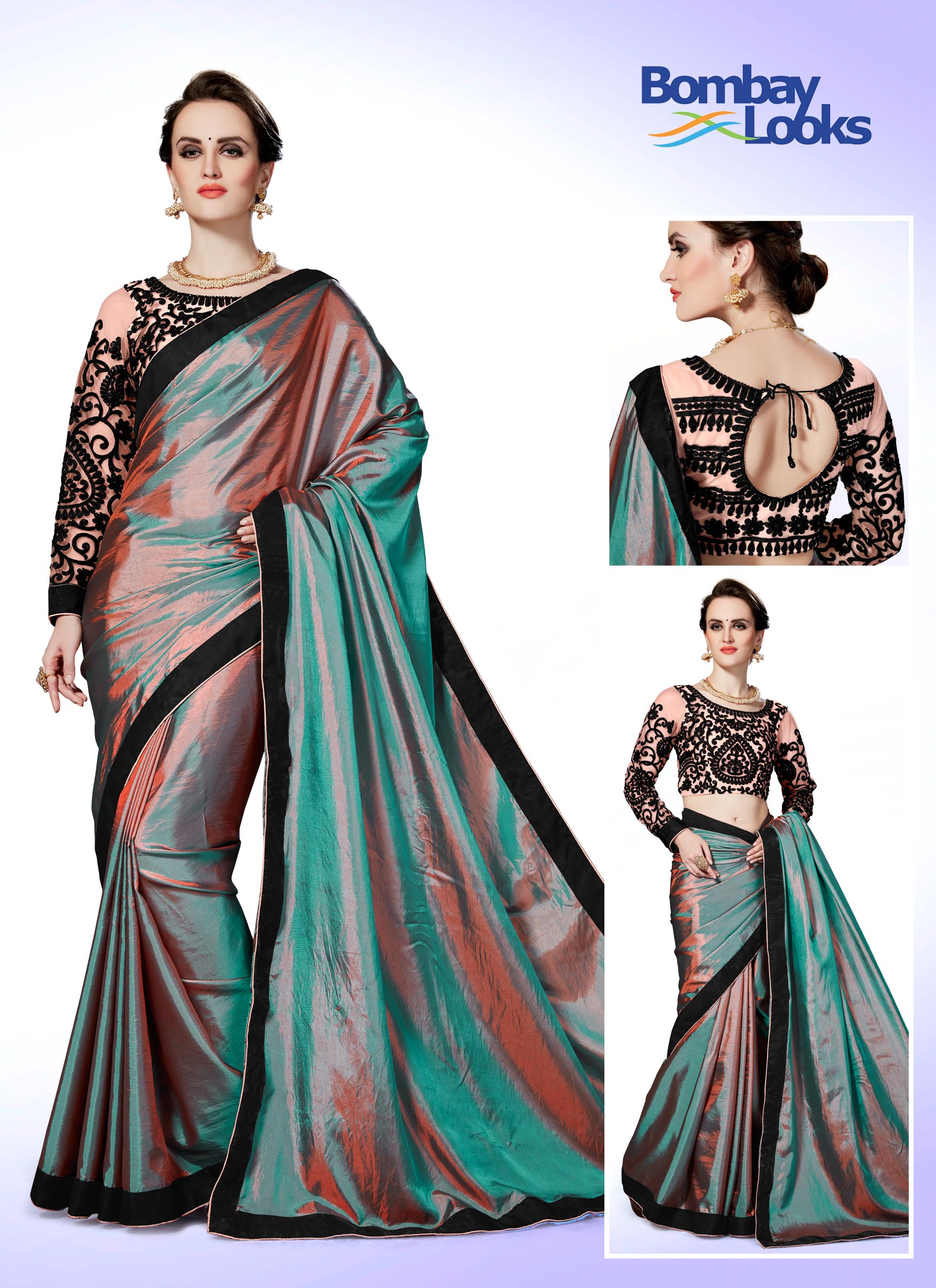 Dual tone Rama and brown saree with embroidered blouse