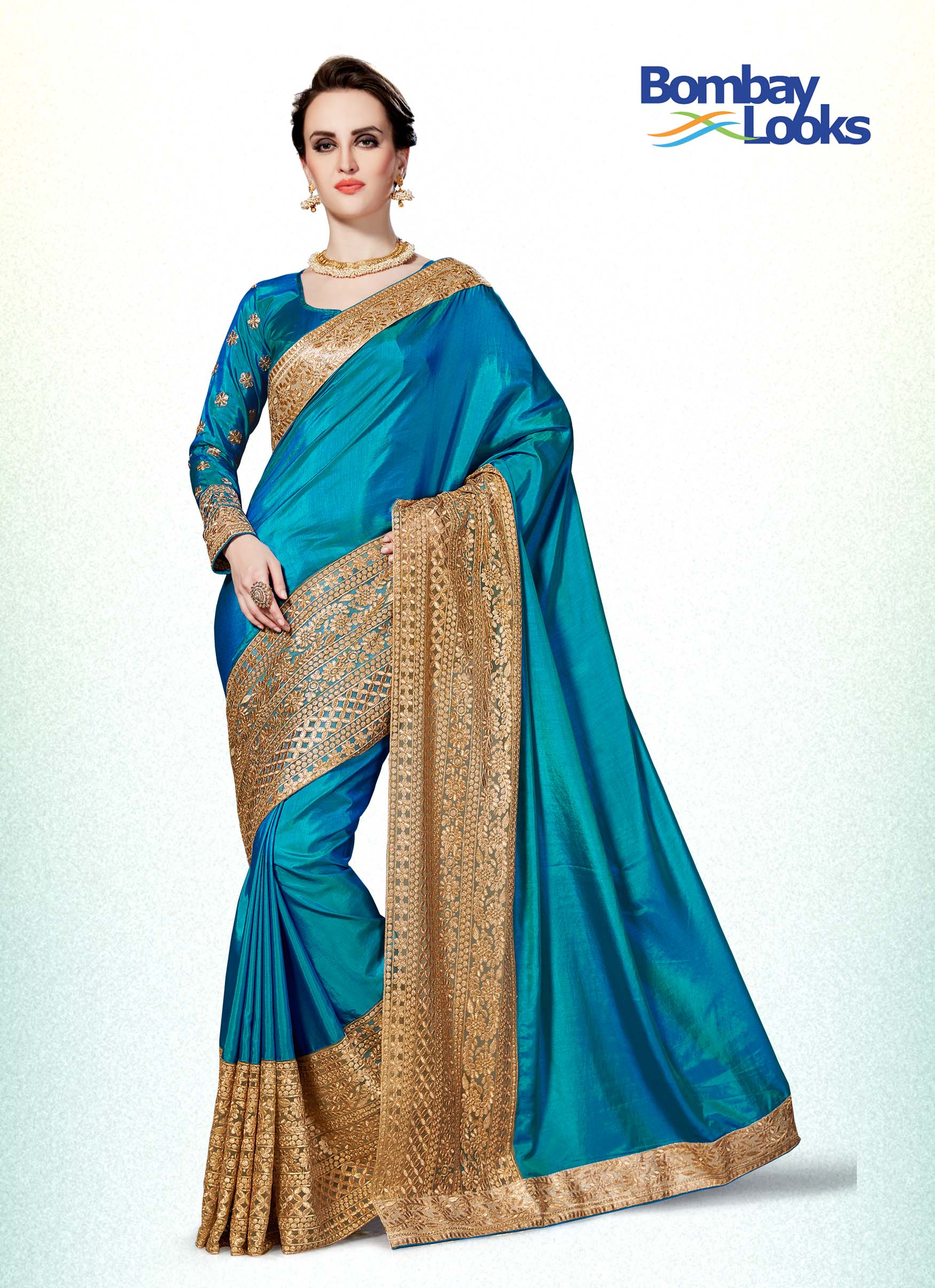 Blue soft silk saree with gold embroidery