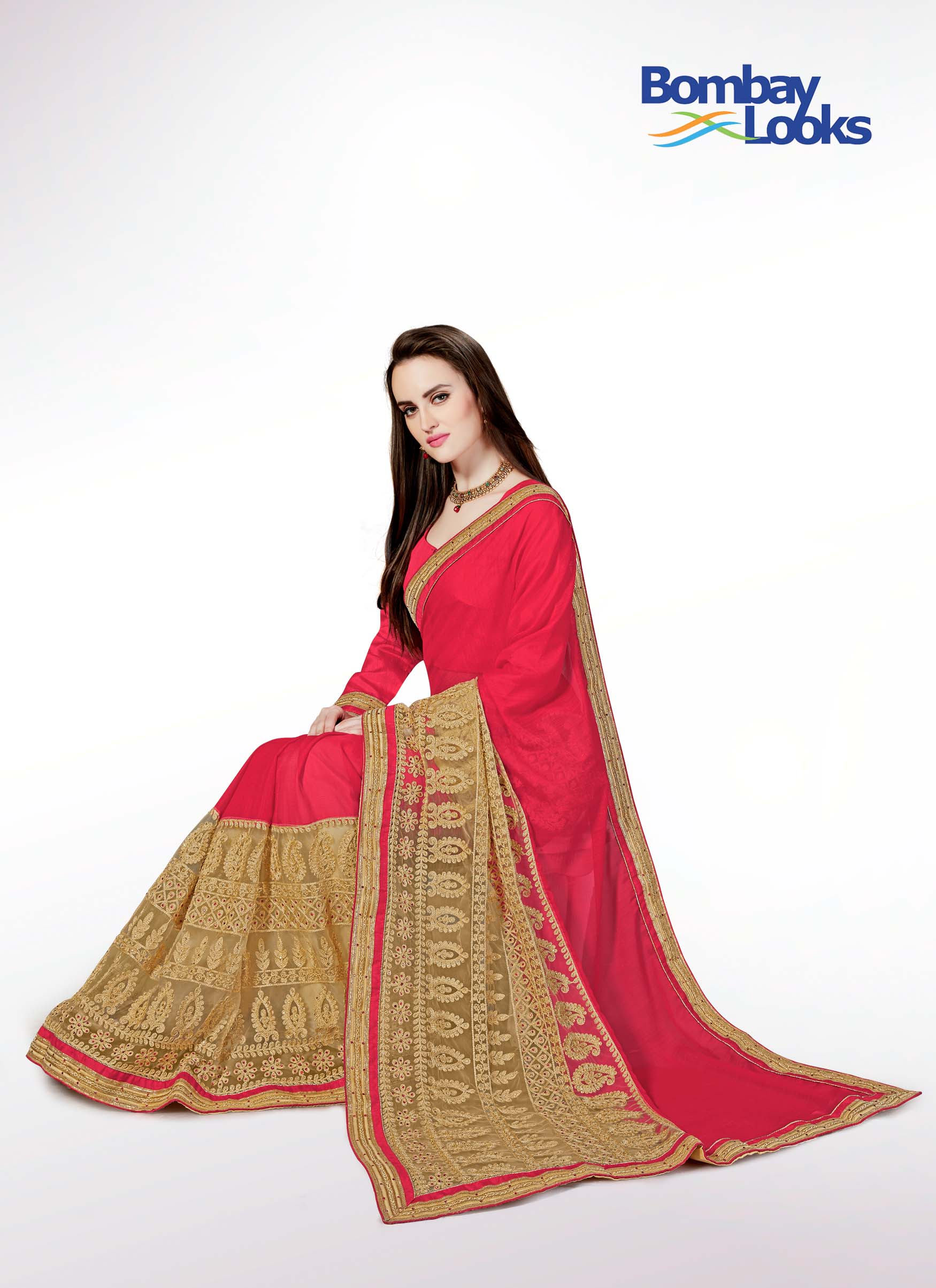 Gorgeous coral chiffon saree with gold embroidered skirt
