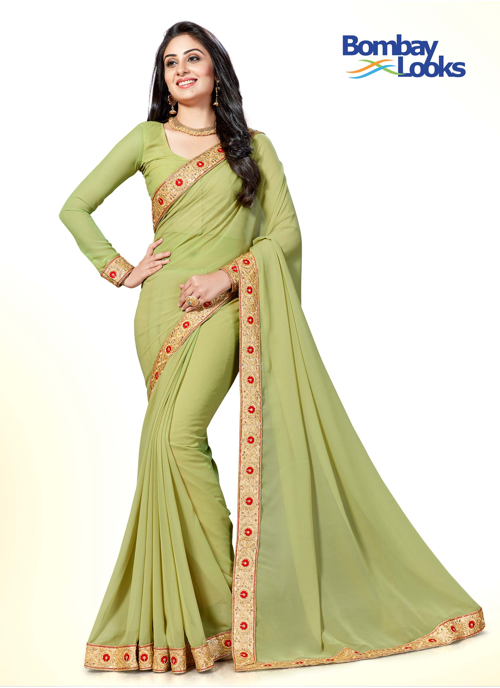Olive green georgette saree having red rose embroidered border