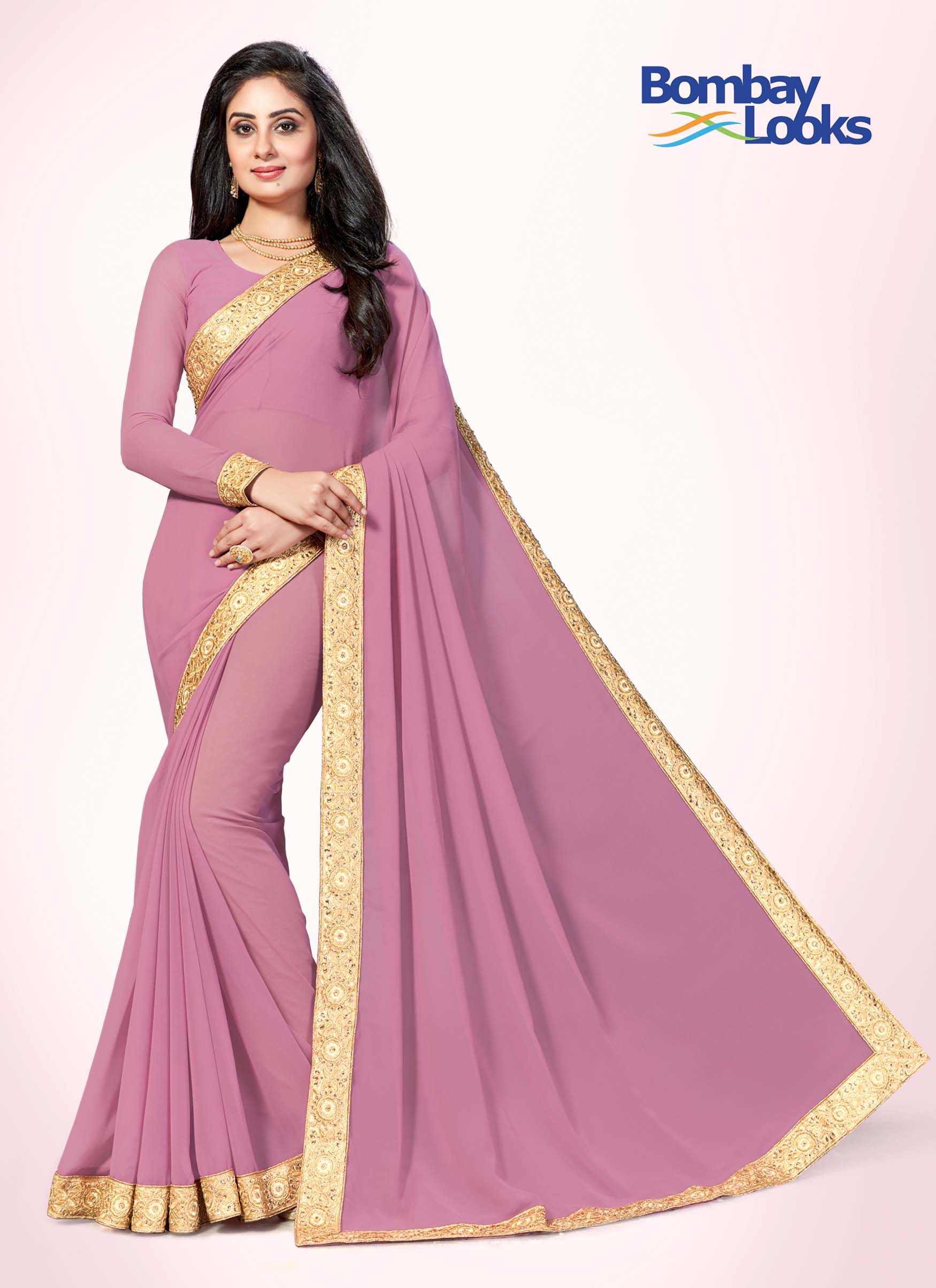 Dusty pink gala saree with delicate gold border