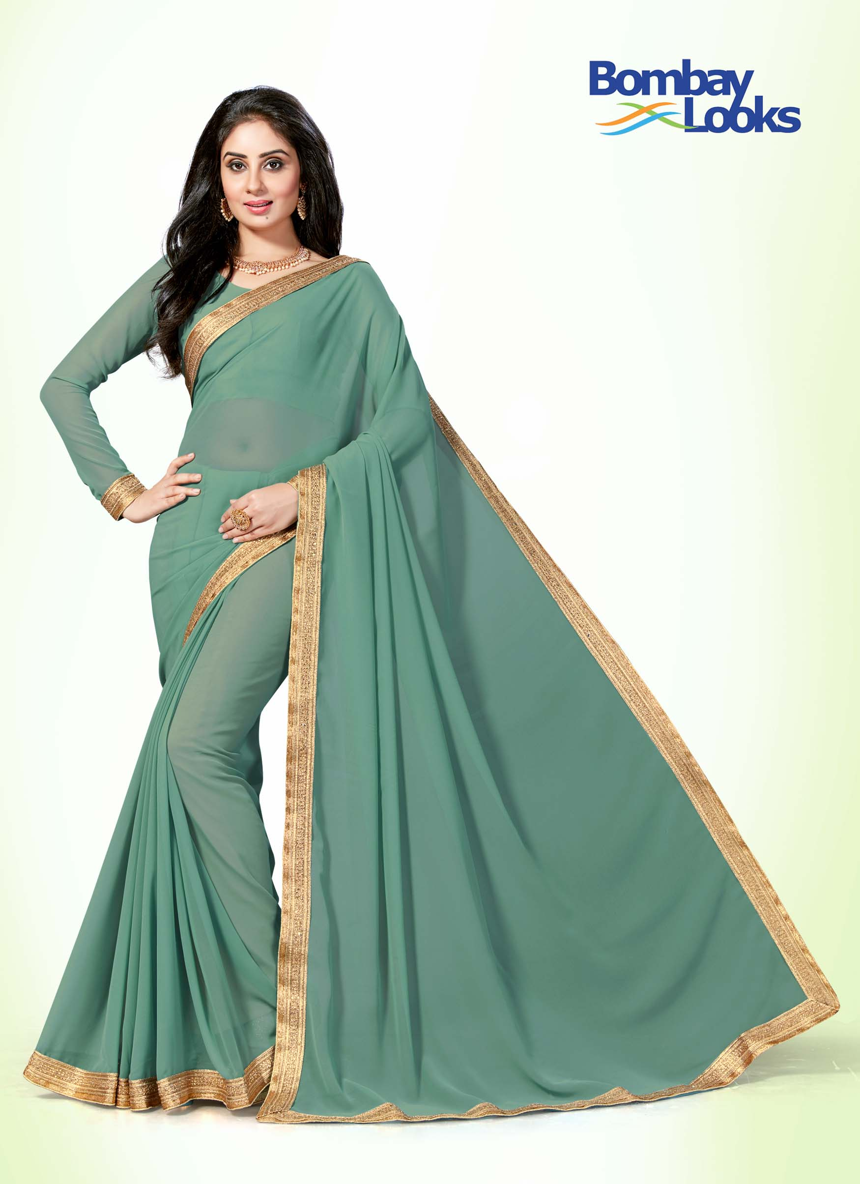 Dusty jade saree with gold stone border