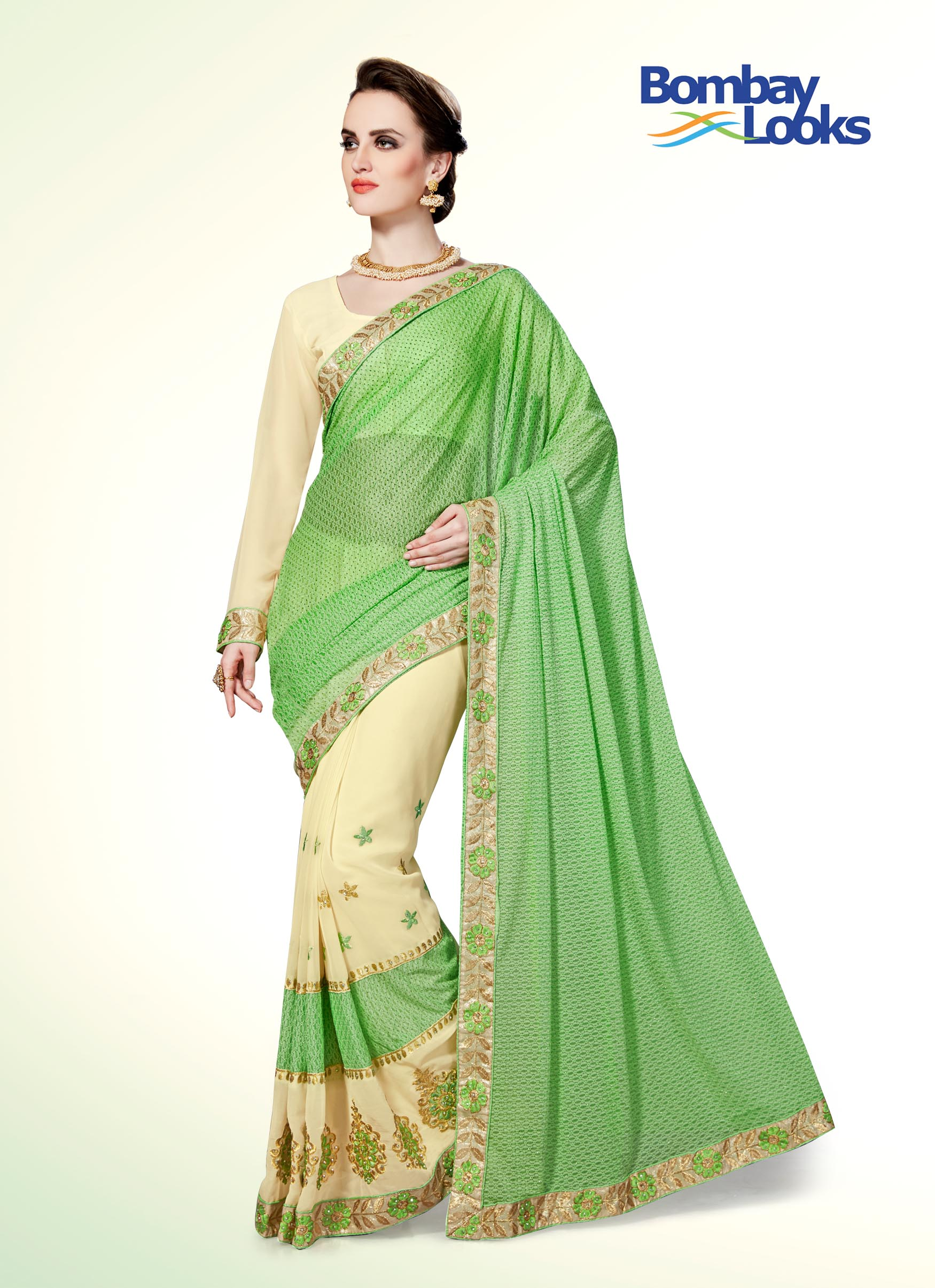 Half and half saree in mint apple green and ivory white