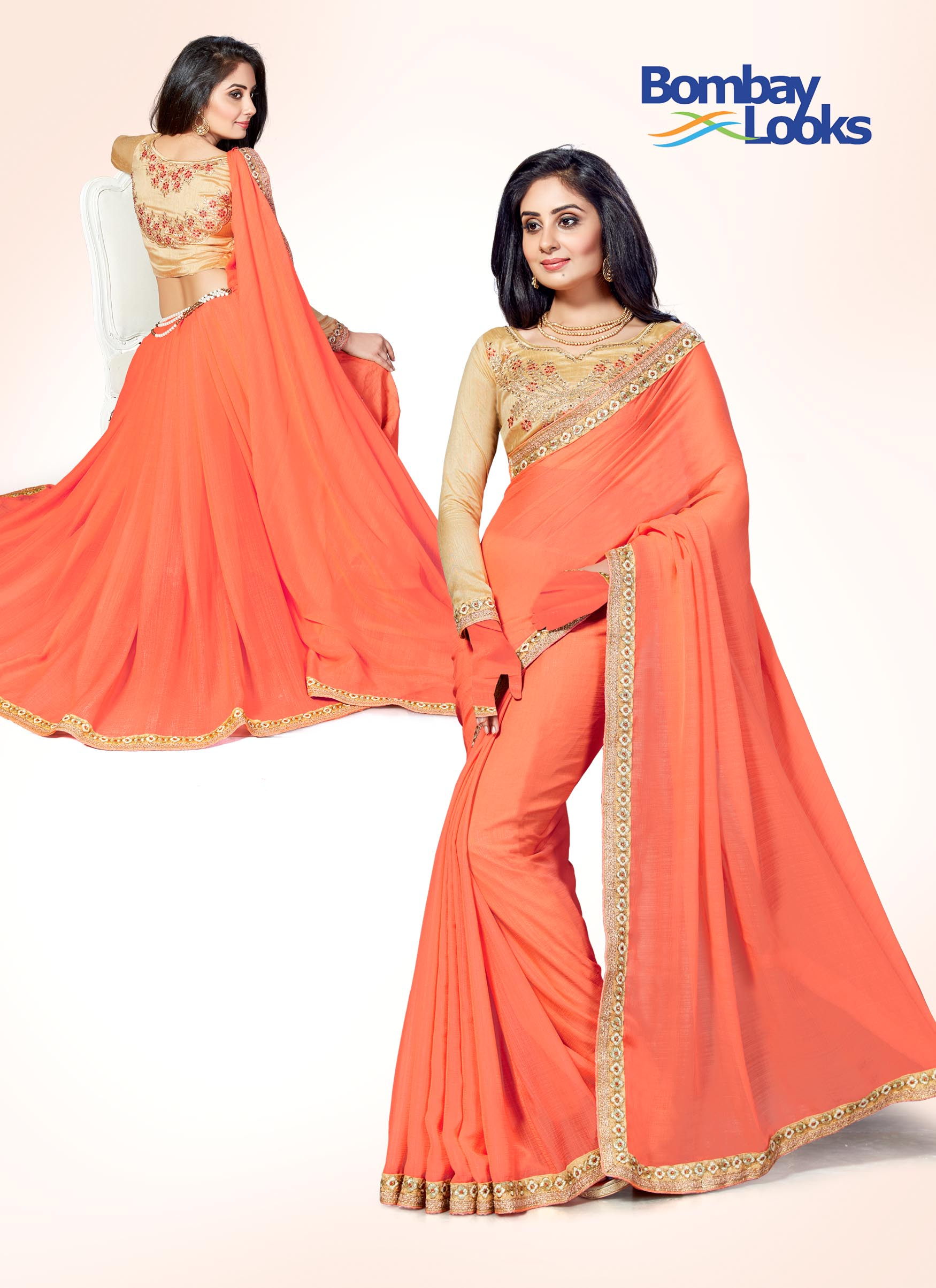 Stylish fresh peach saree with golden embroidered border