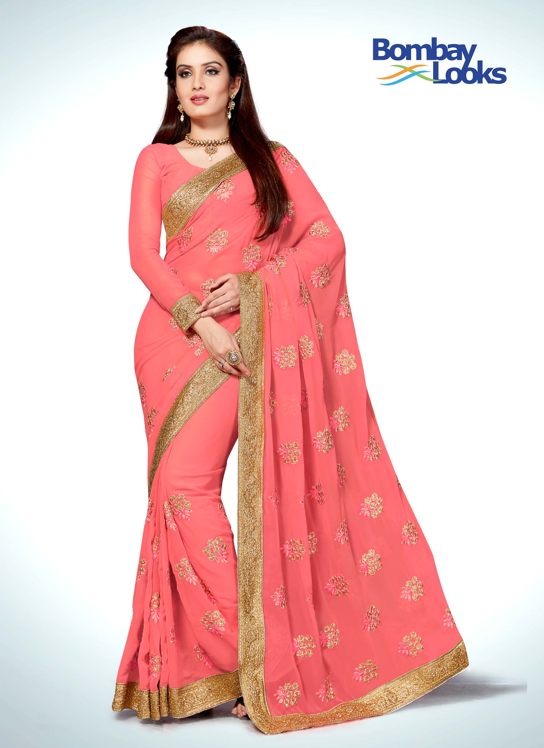 Gorgeous rose coloured chiffon saree with gold border