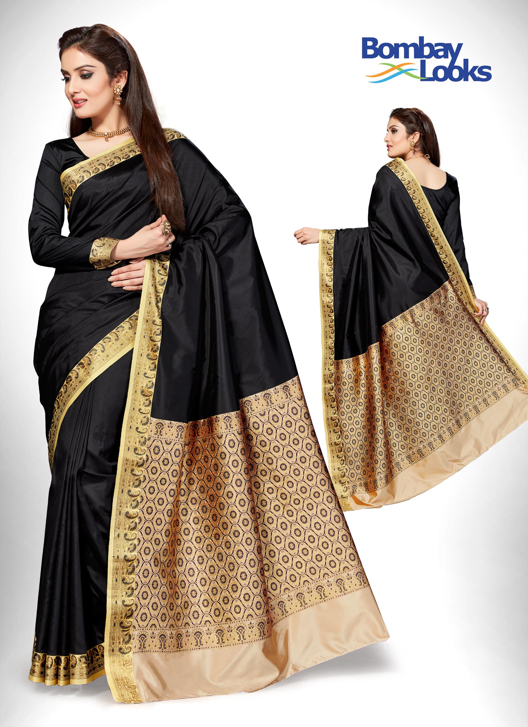 Raven black Banarasi saree with gold intricate border
