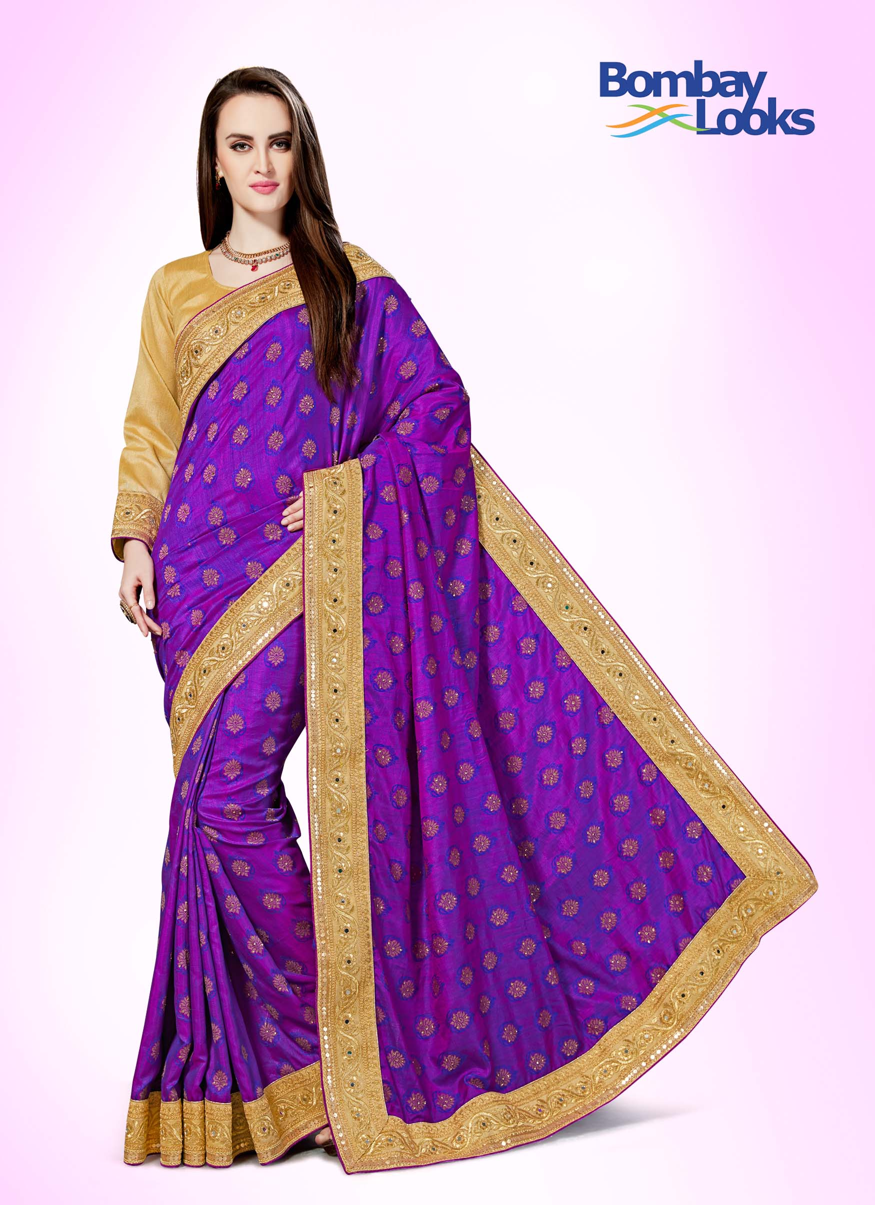 Purple banarasi saree with rich gold border and chikoo gold blouse