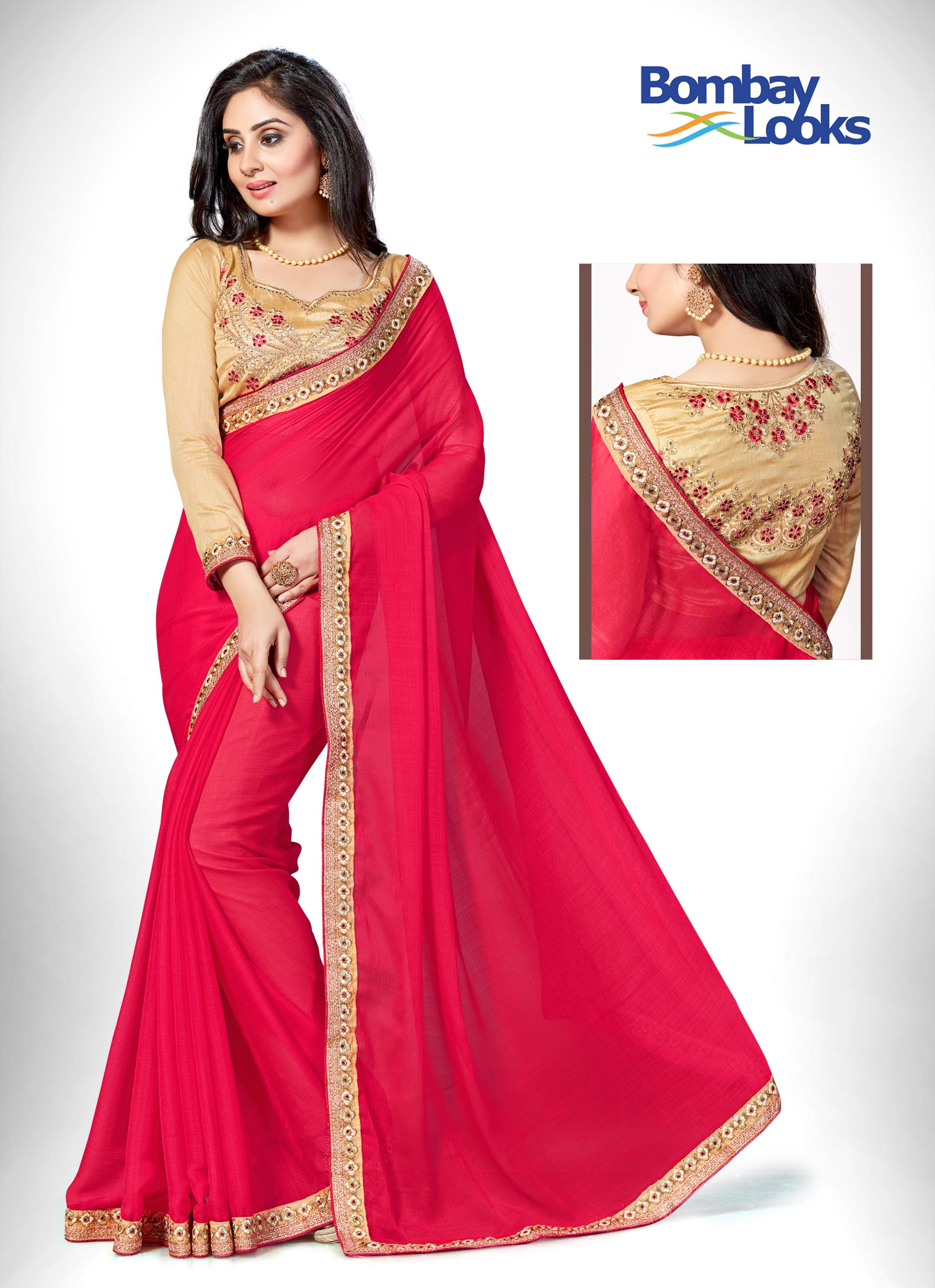 Pretty Rani Pink saree with dainty gold border