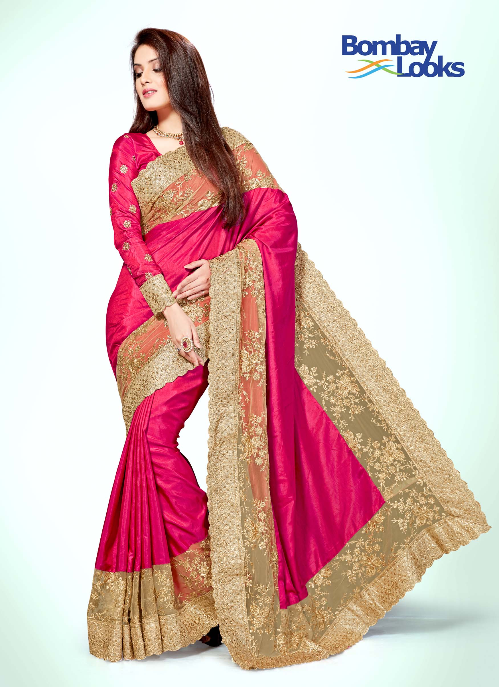 Rani soft silk saree with intricate gold embroidery