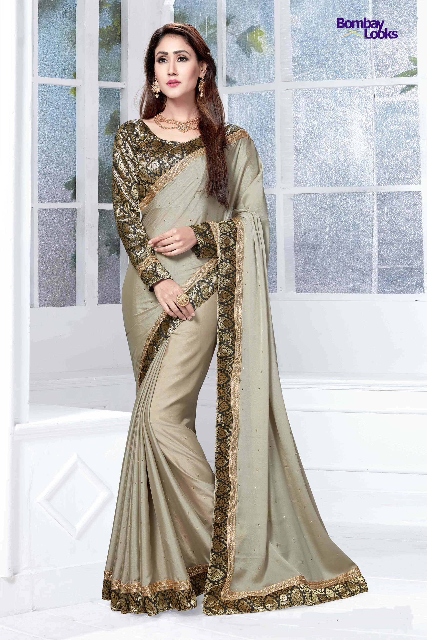 Graceful Lycra dusty olive saree with elegant border