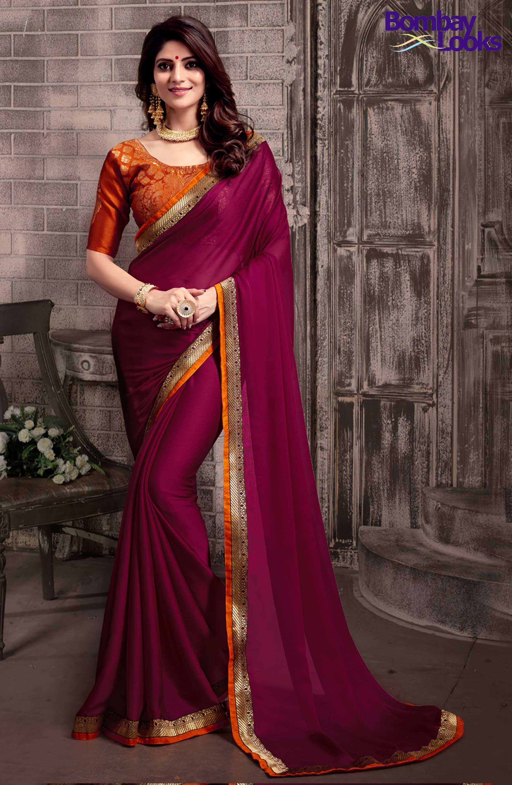 Gorgeous Wine chiffon saree with brocade blouse