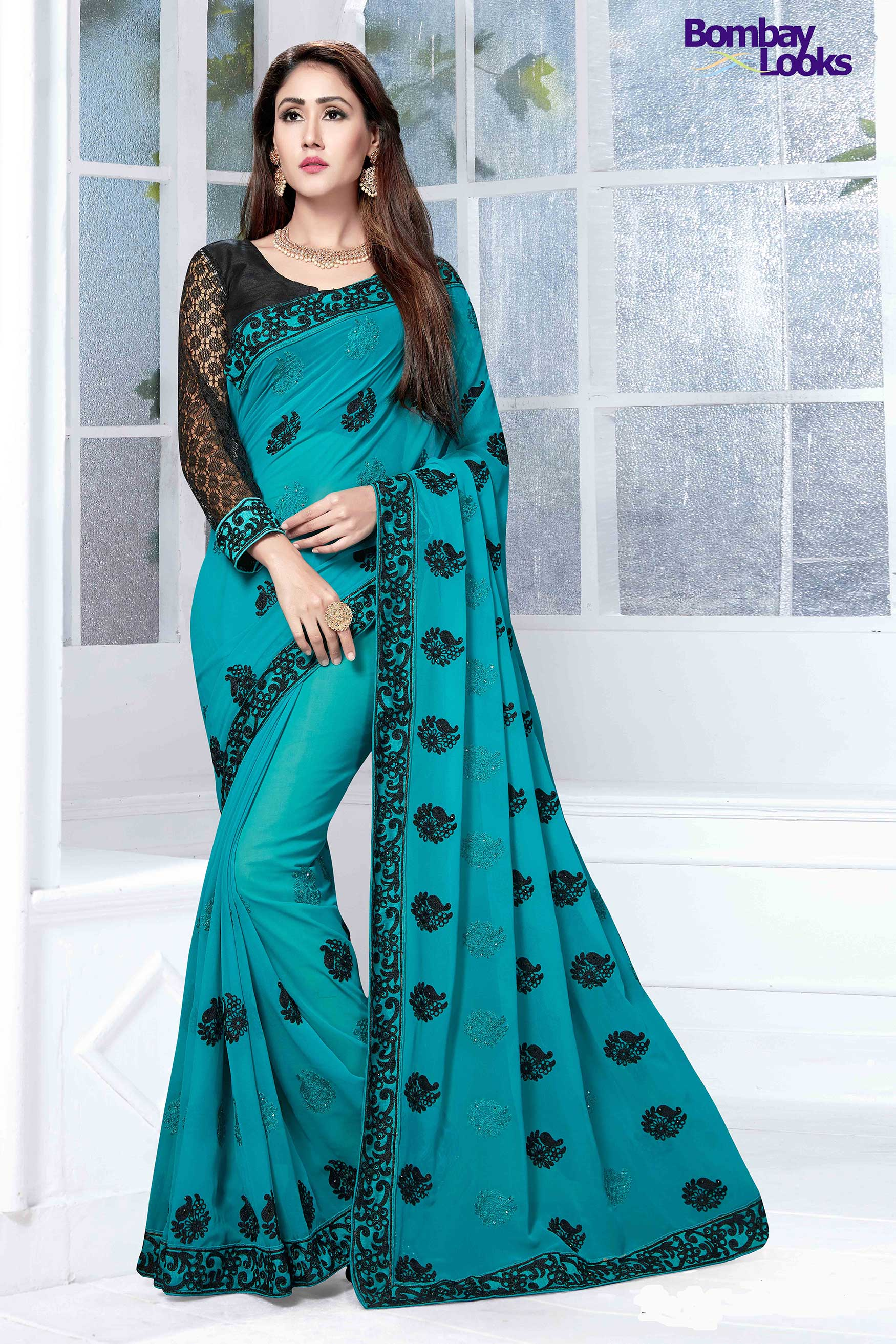 Teal jade Georgette saree with resham embroidery