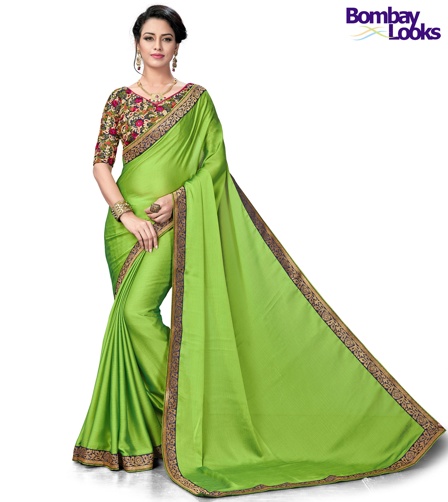 Classic Green chiffon saree with heavy embroidered blouse