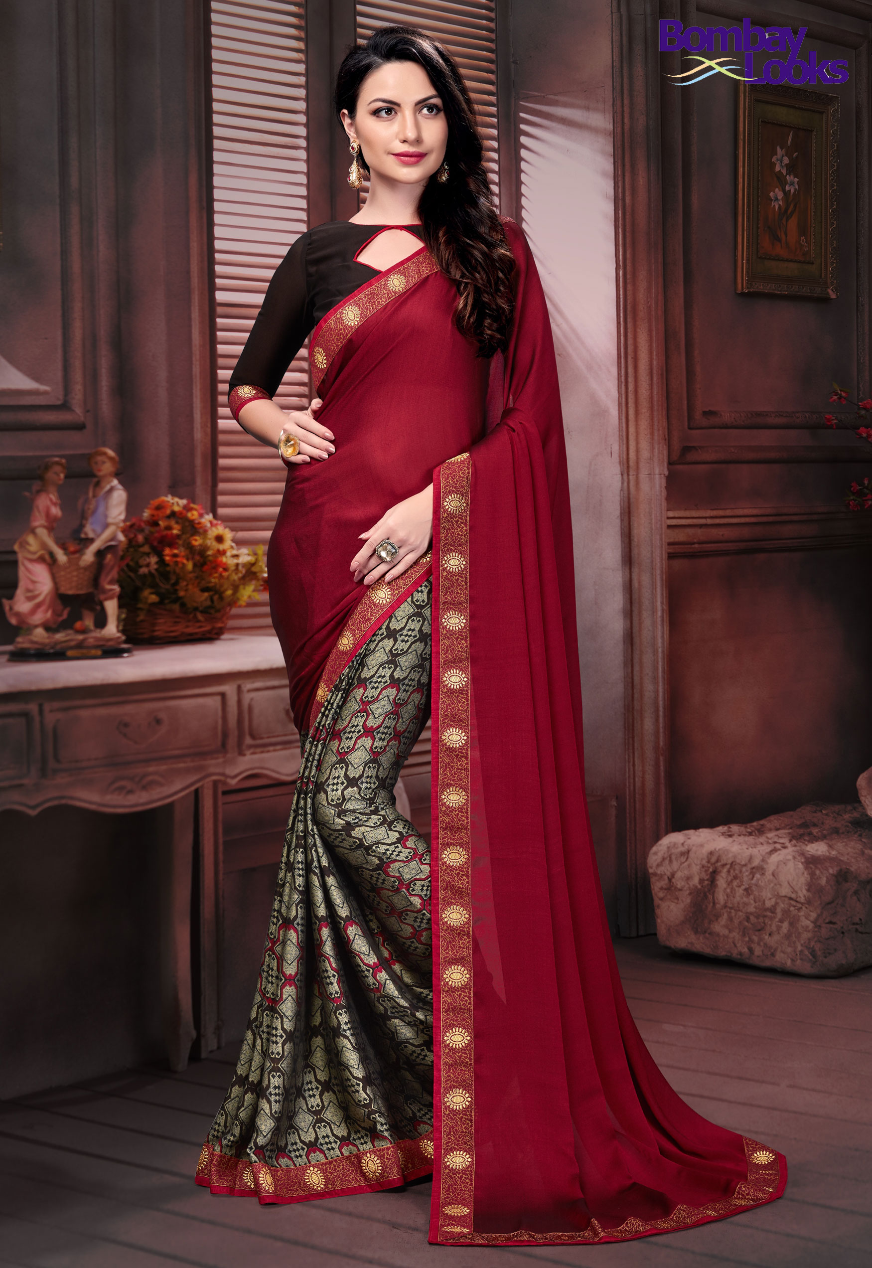 Half Plain and half Print saree in maroon & brown