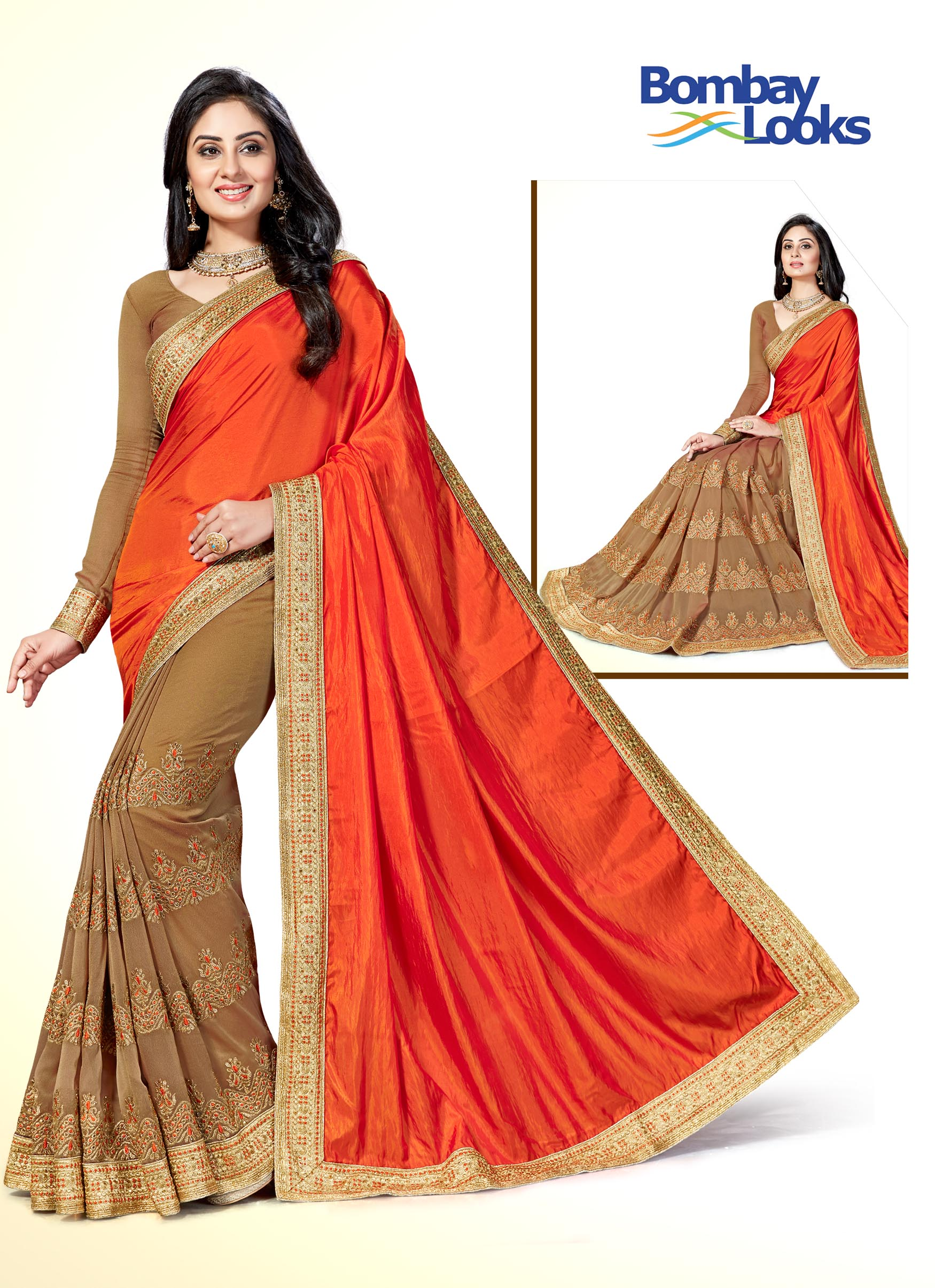Half and half saree in burnt orange and brown with embroidery