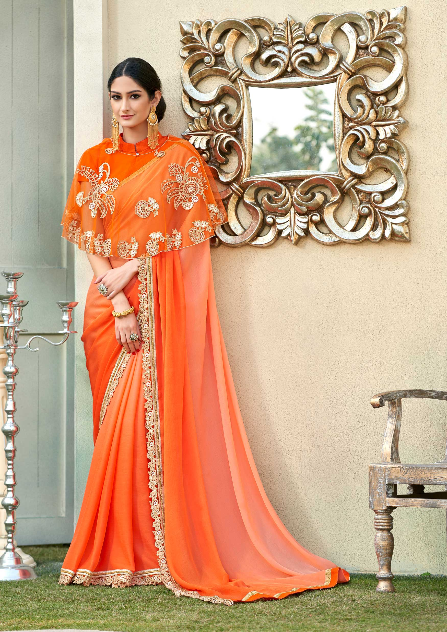 Trendy Orange peach poncho saree with deep low back