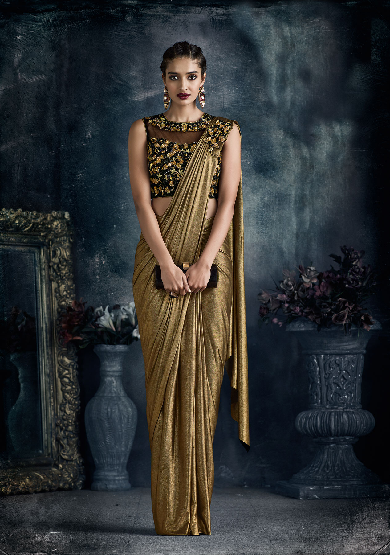Chic pre stitched ready to wear Antique gold Lycra saree
