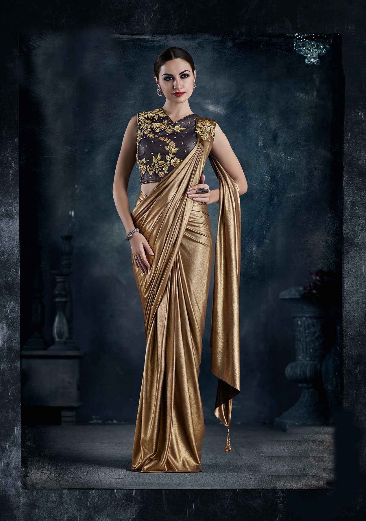 Chic pre stitched ready to wear Copper Lycra saree