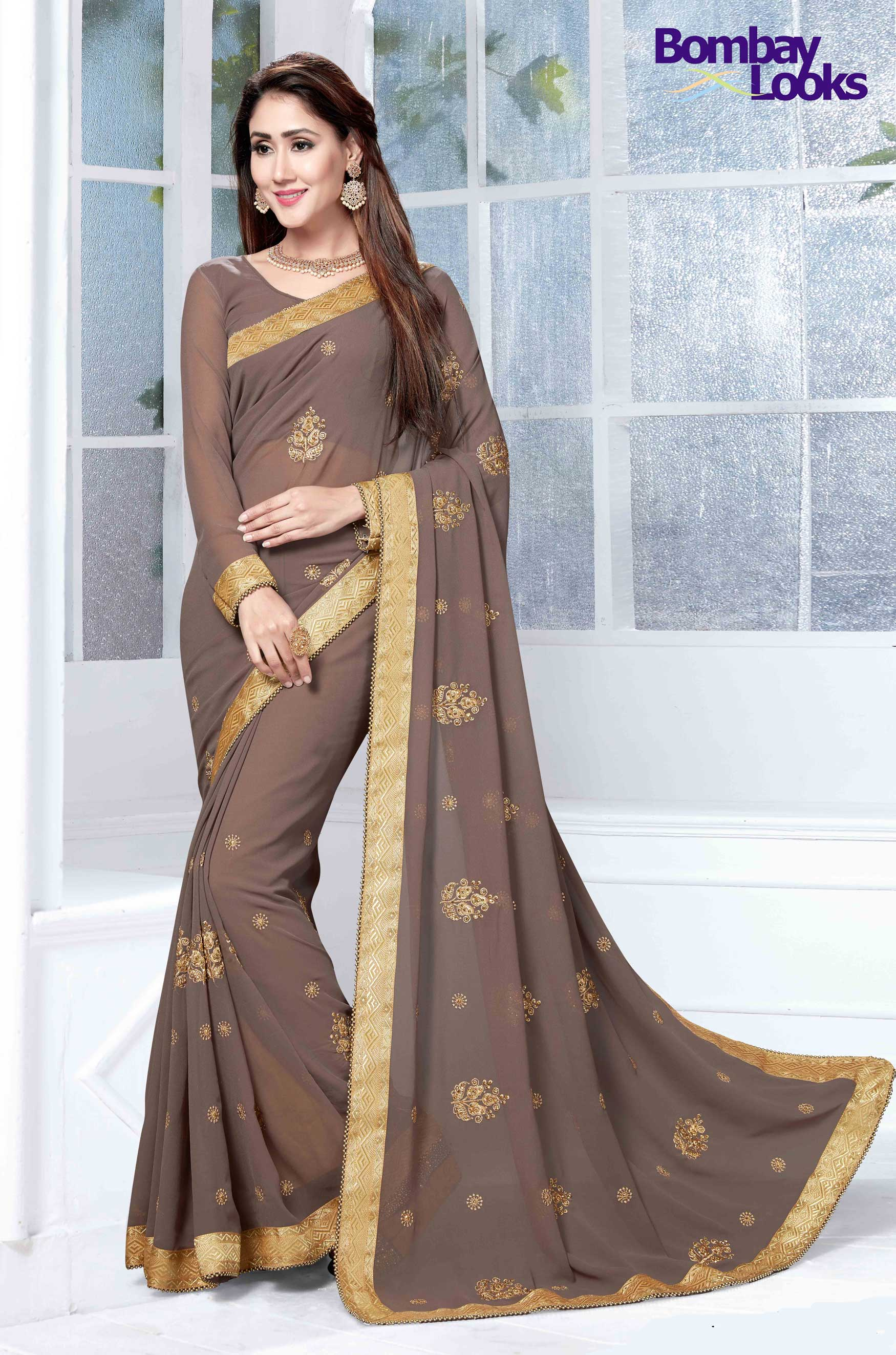 Beautiful dark mouse coloured saree with resham embroidery