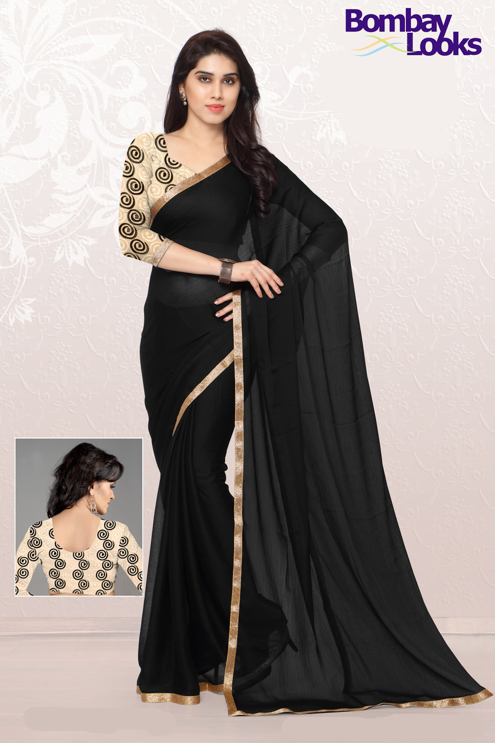 Pretty Black saree with dainty gold border