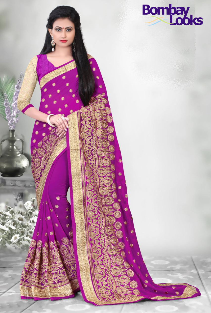 Beautiful Magenta saree with rich embroidery